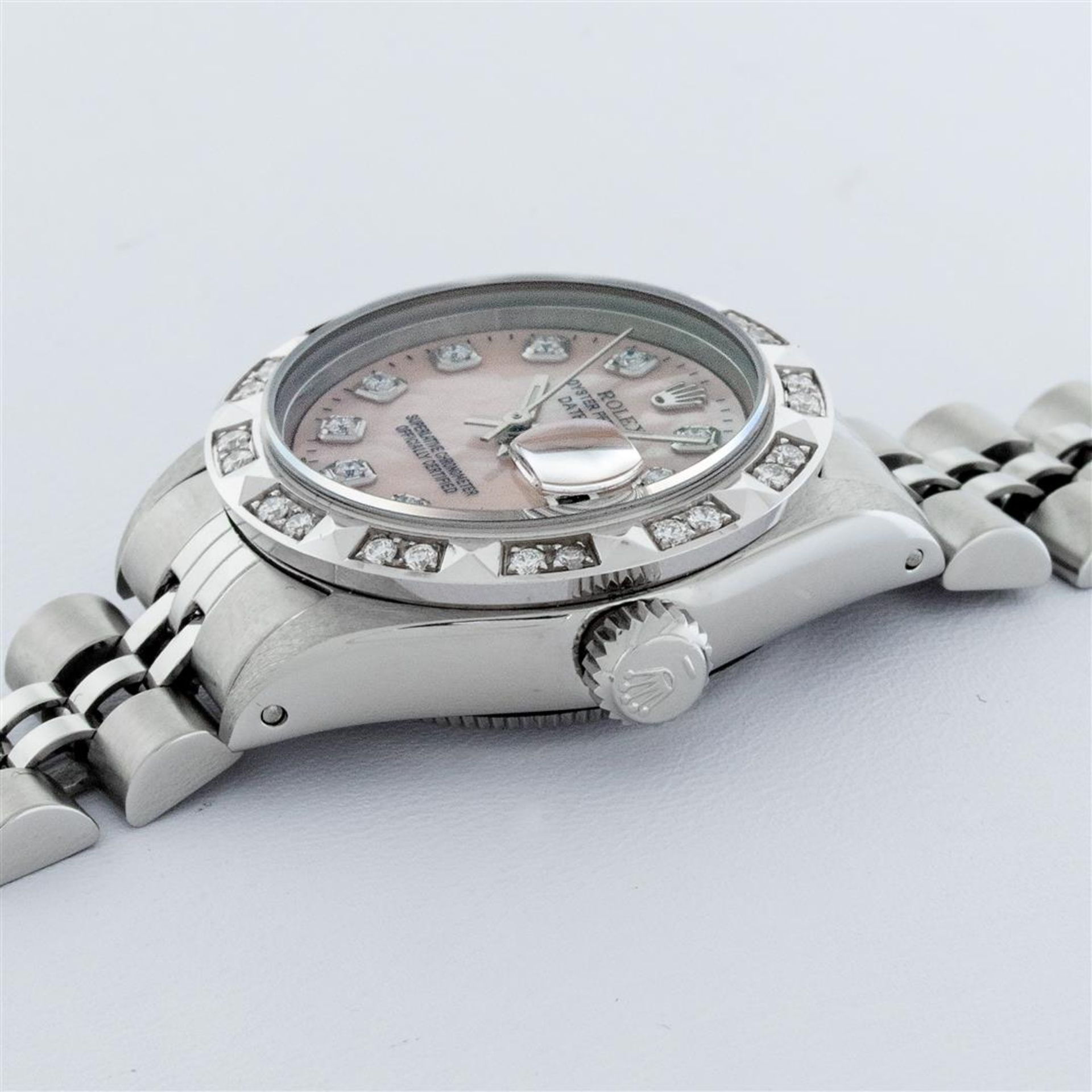 Rolex Ladies Stainless Steel Pink MOP Pyramid Diamond Datejust Wristwatch 26MM - Image 7 of 9