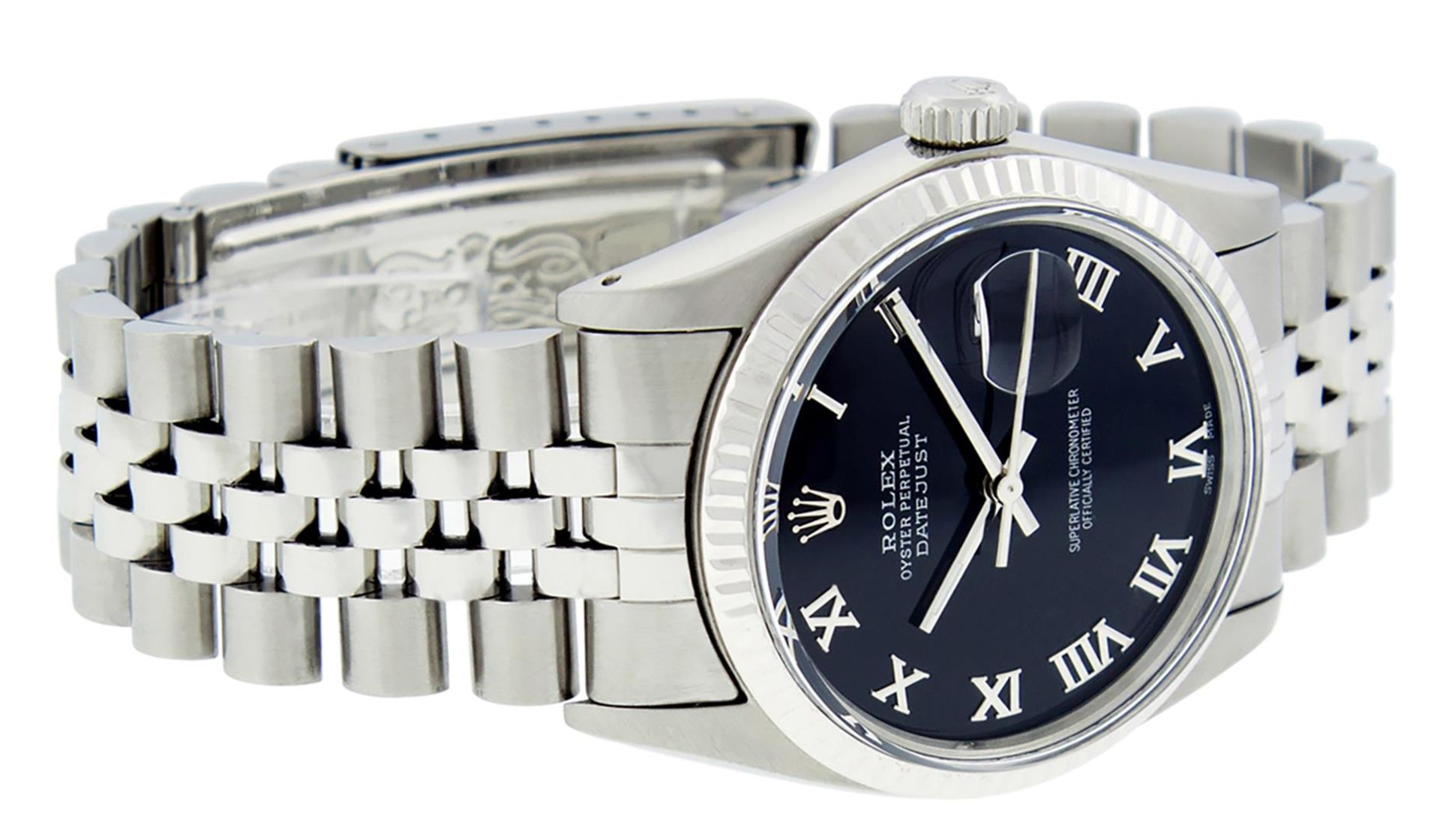 Rolex Mens Stainless Steel Black Roman Datejust 36MM Wriswatch Datejust - Image 3 of 8