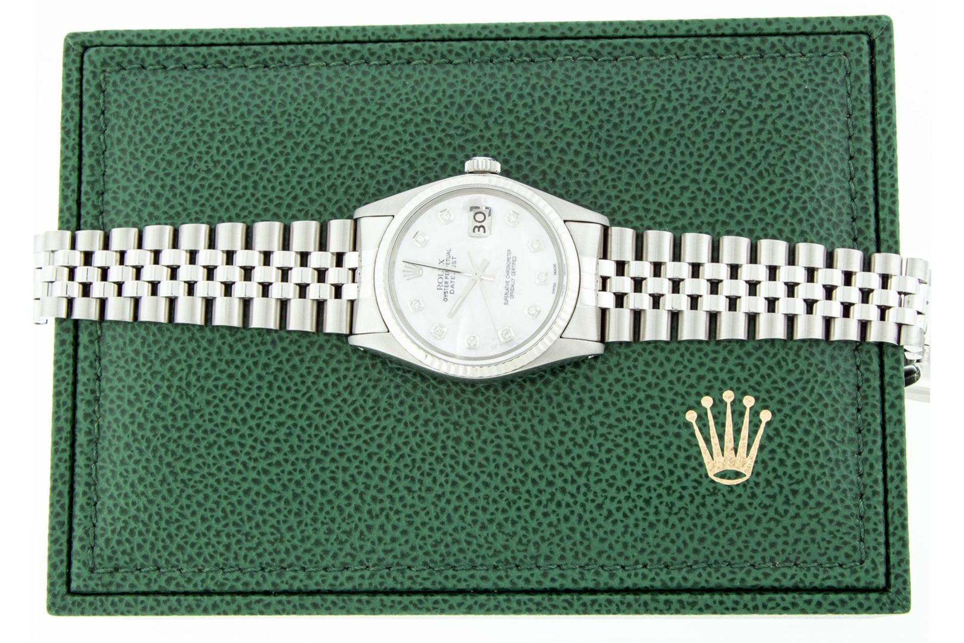 Rolex Mens Stainless Mother Of Pearl Diamond 36MM Datejust Wristwatch With Rolex - Image 4 of 9
