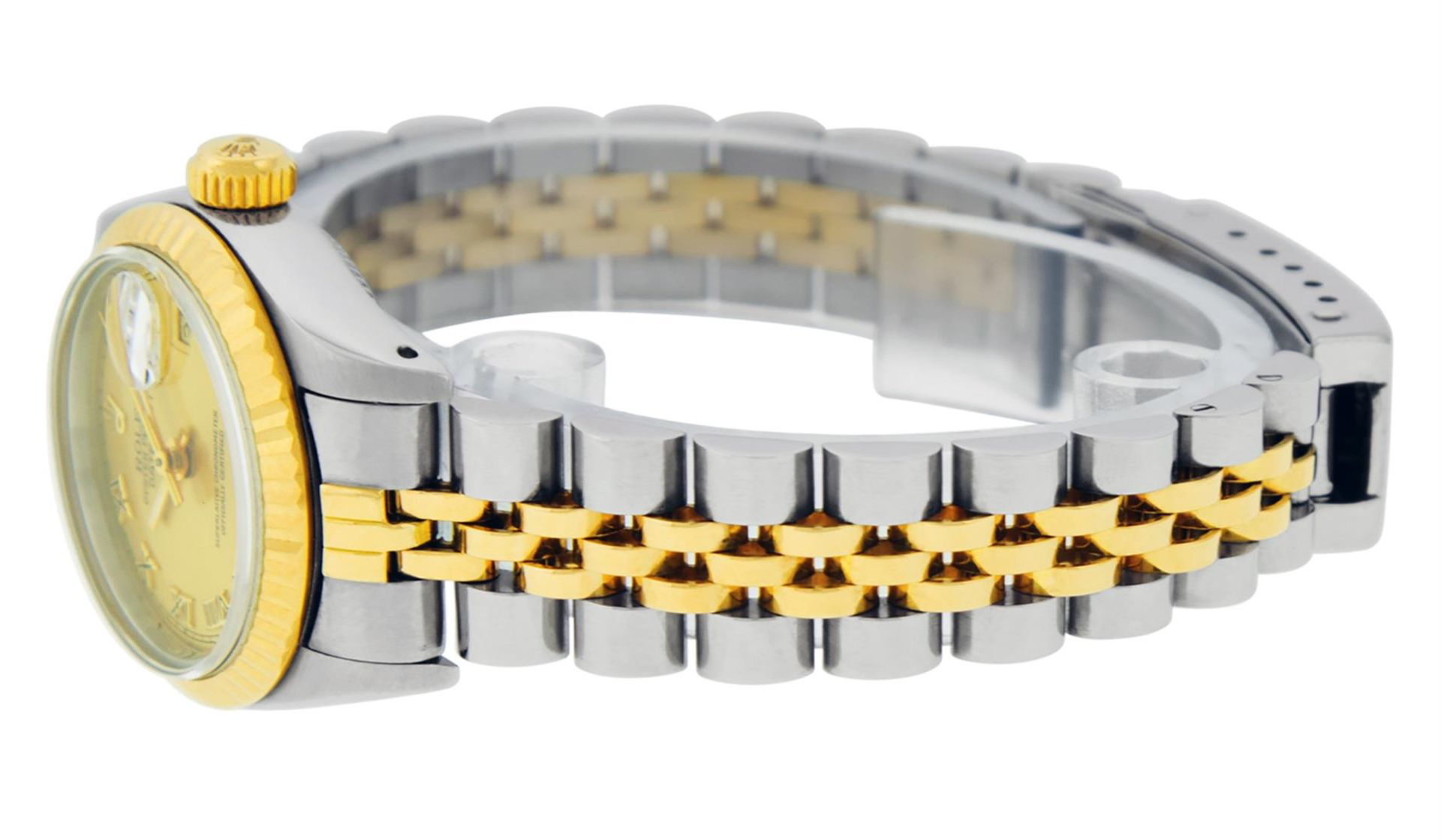 Rolex Ladies 2 Tone Factory Champagne Roman Fluted Datejust Wristwatch - Image 6 of 9