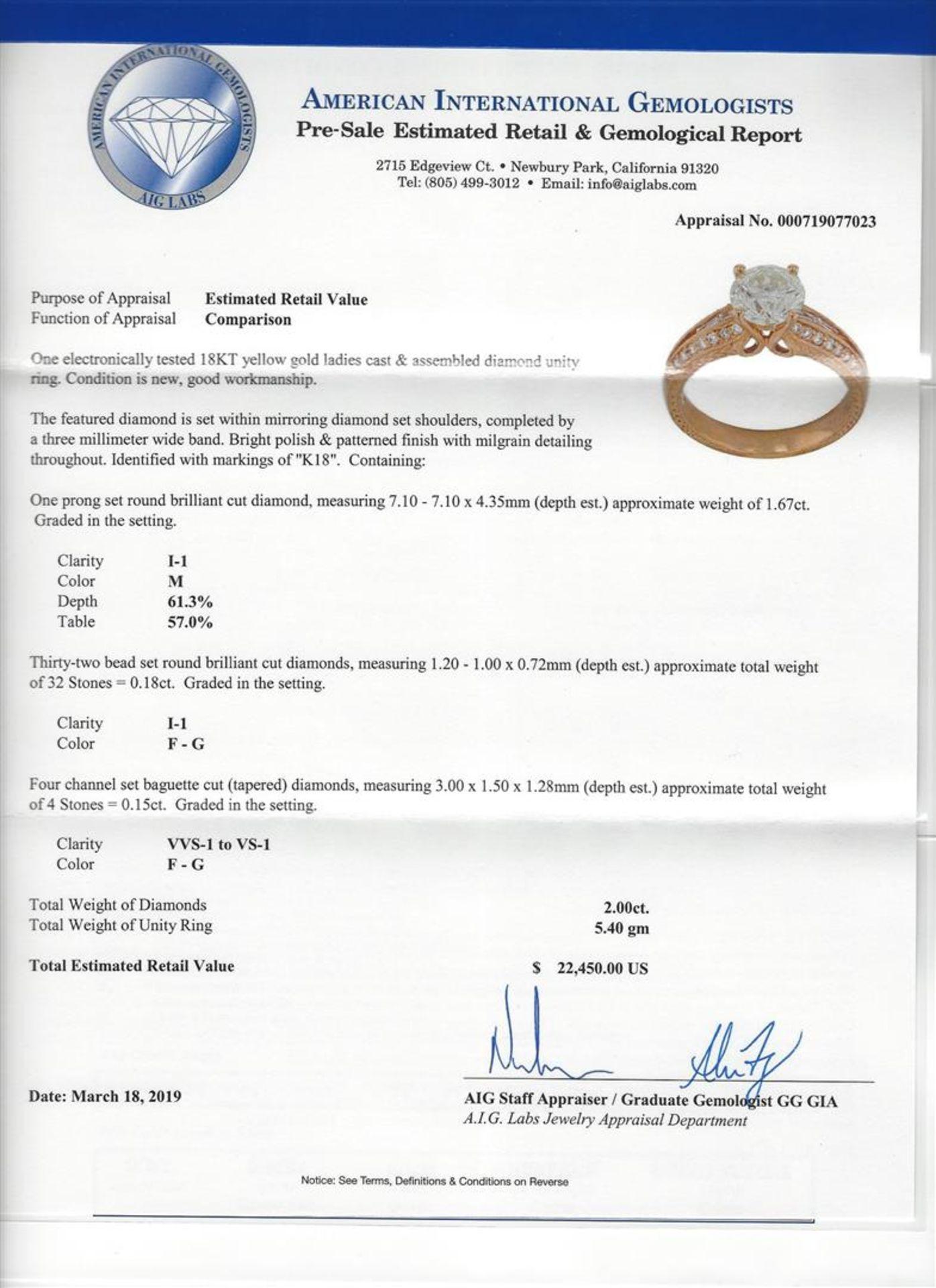 1.67ct Diamond Ring - 18KT Yellow Gold - Image 5 of 5