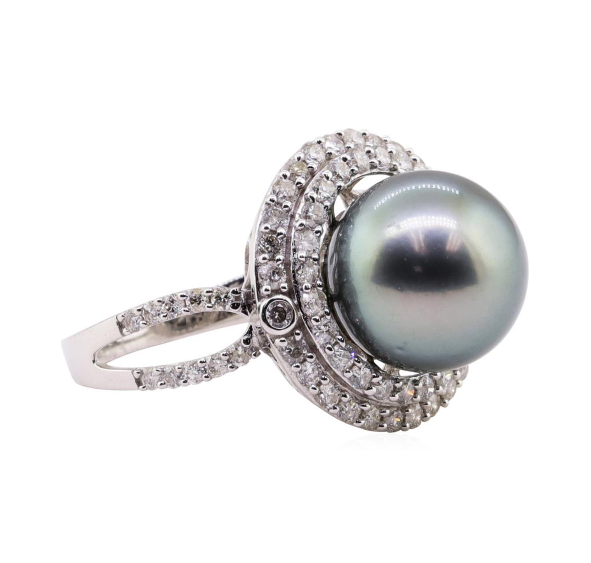 Tahitian Pearl and Diamond Ring - 18KT White Gold - Image 2 of 5