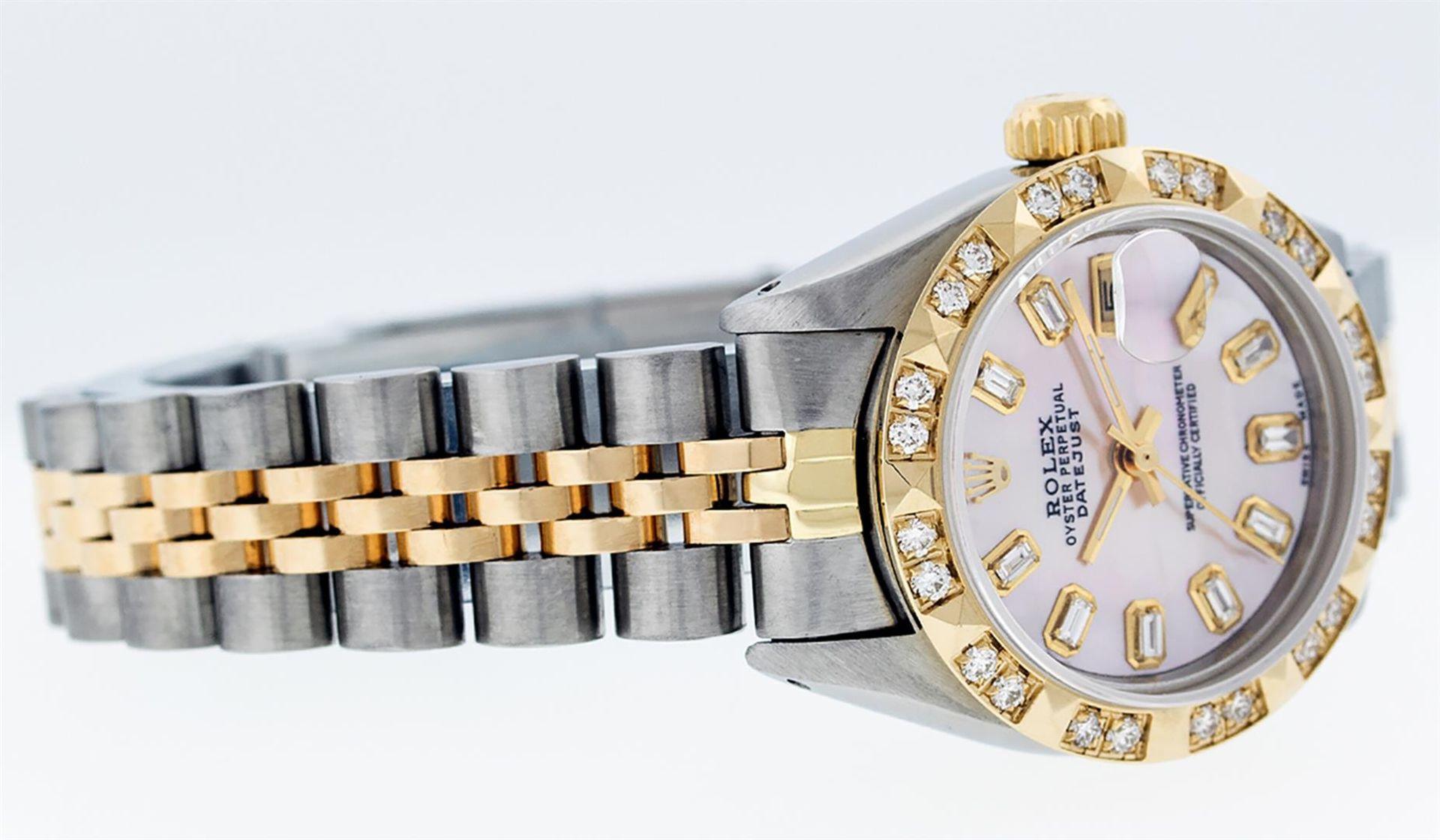 Rolex Ladies 26 2T Pink MOP Baguette 18K YG Diamond Bezel Serviced And Polished - Image 6 of 9