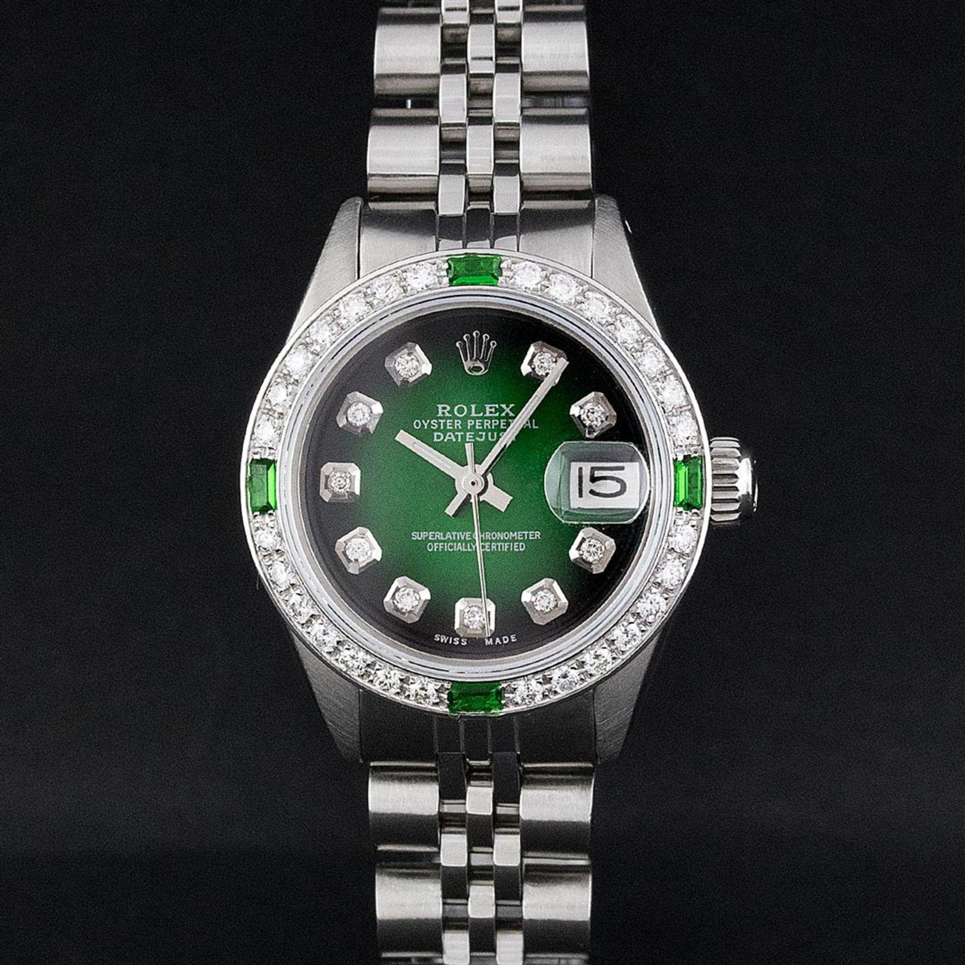 Rolex Ladies Stainless Steel 26MM Green Vignette Diamond Oyster Perpetual Dateju