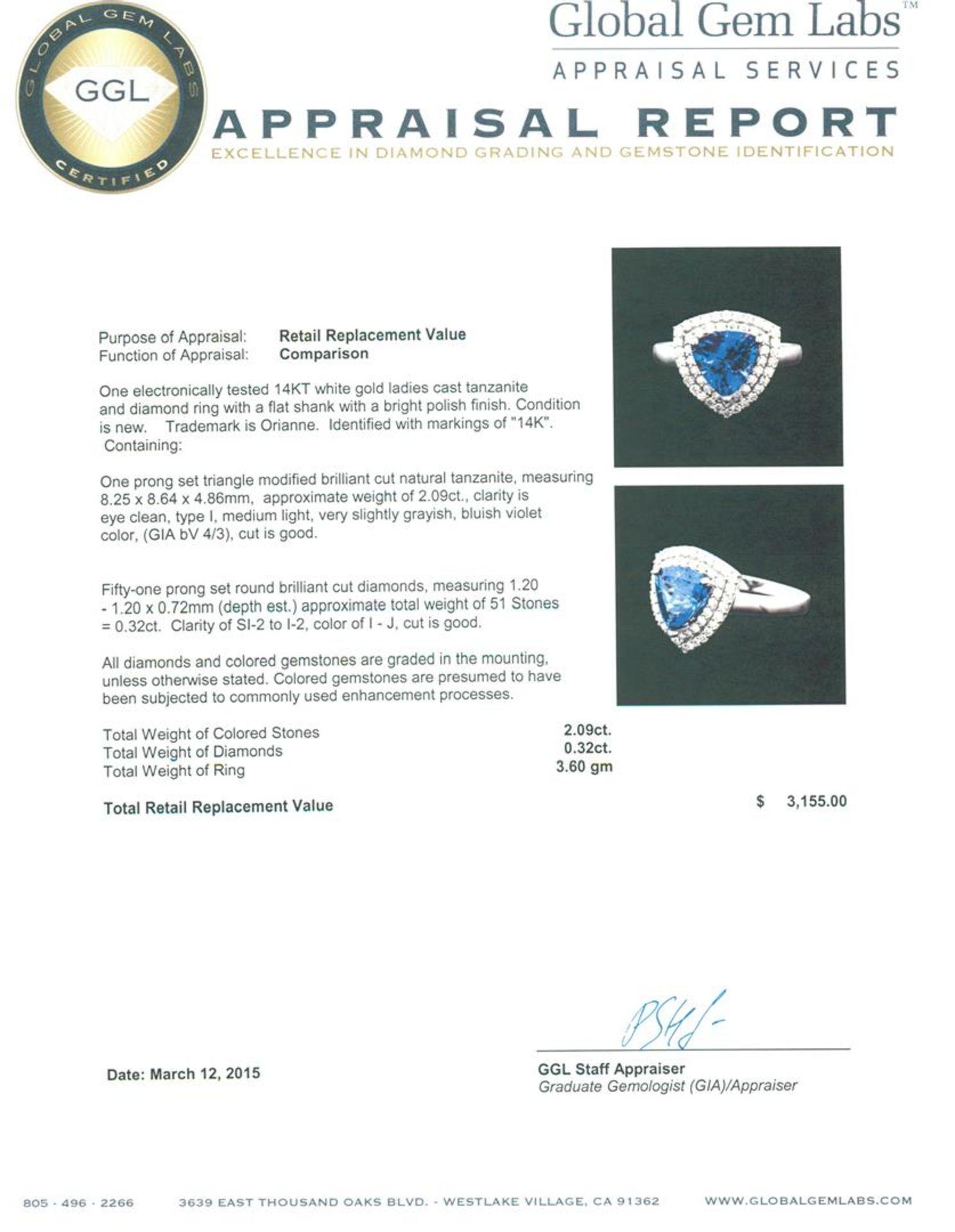 14KT White Gold 2.09 ctw Tanzanite and Diamond Ring - Image 5 of 5
