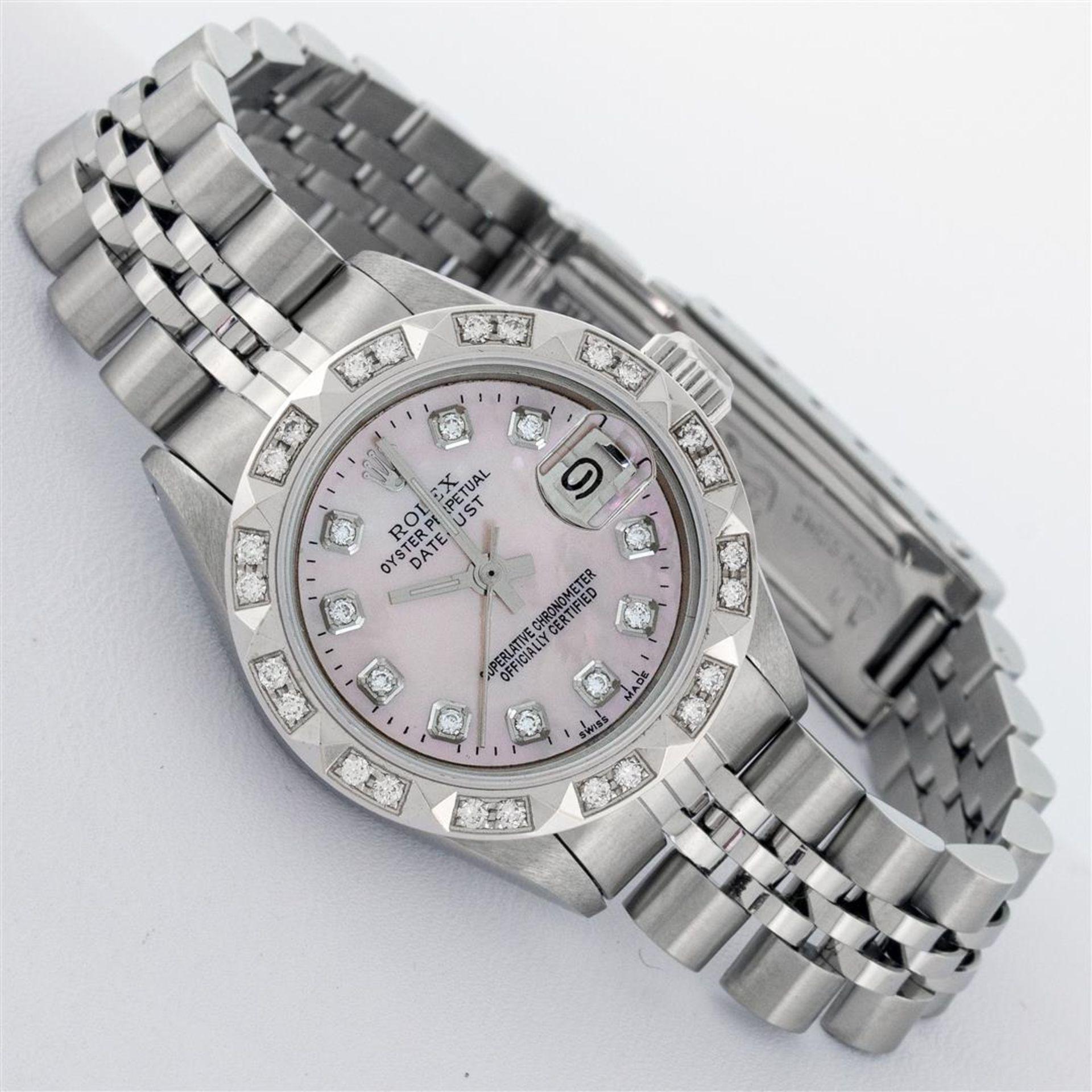 Rolex Ladies Stainless Steel Pink MOP Pyramid Diamond Datejust Wristwatch 26MM - Image 2 of 9