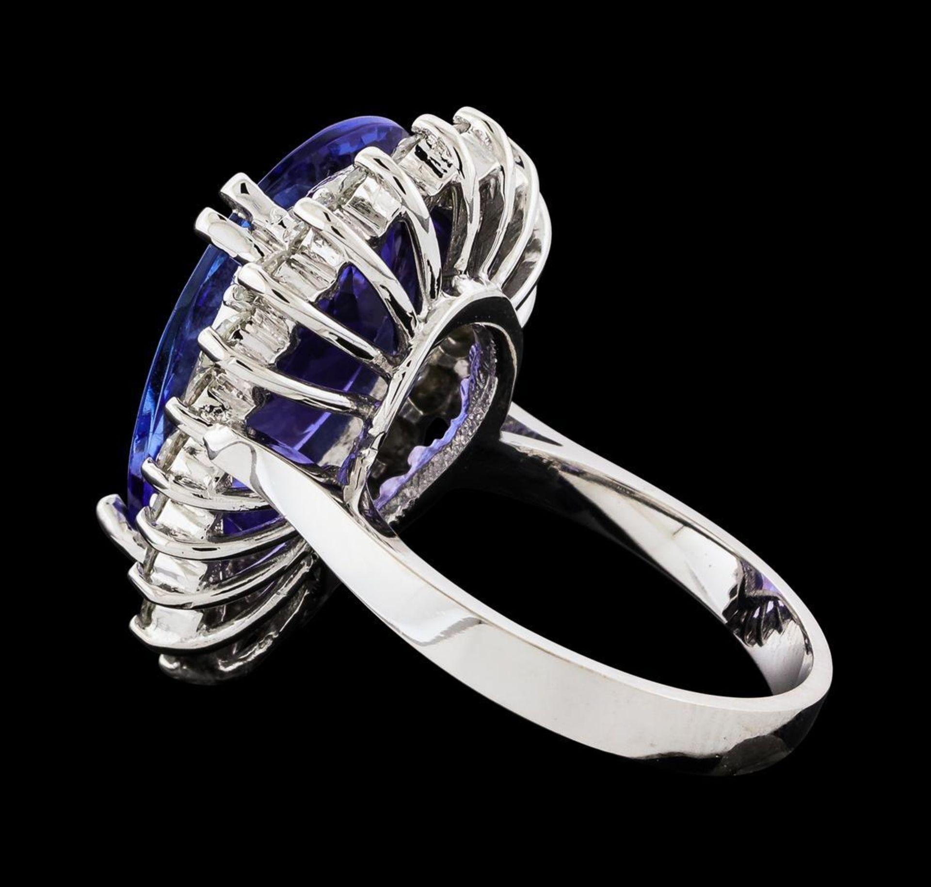 GIA Cert 8.74 ctw Tanzanite and Diamond Ring - 14KT White Gold - Image 3 of 6