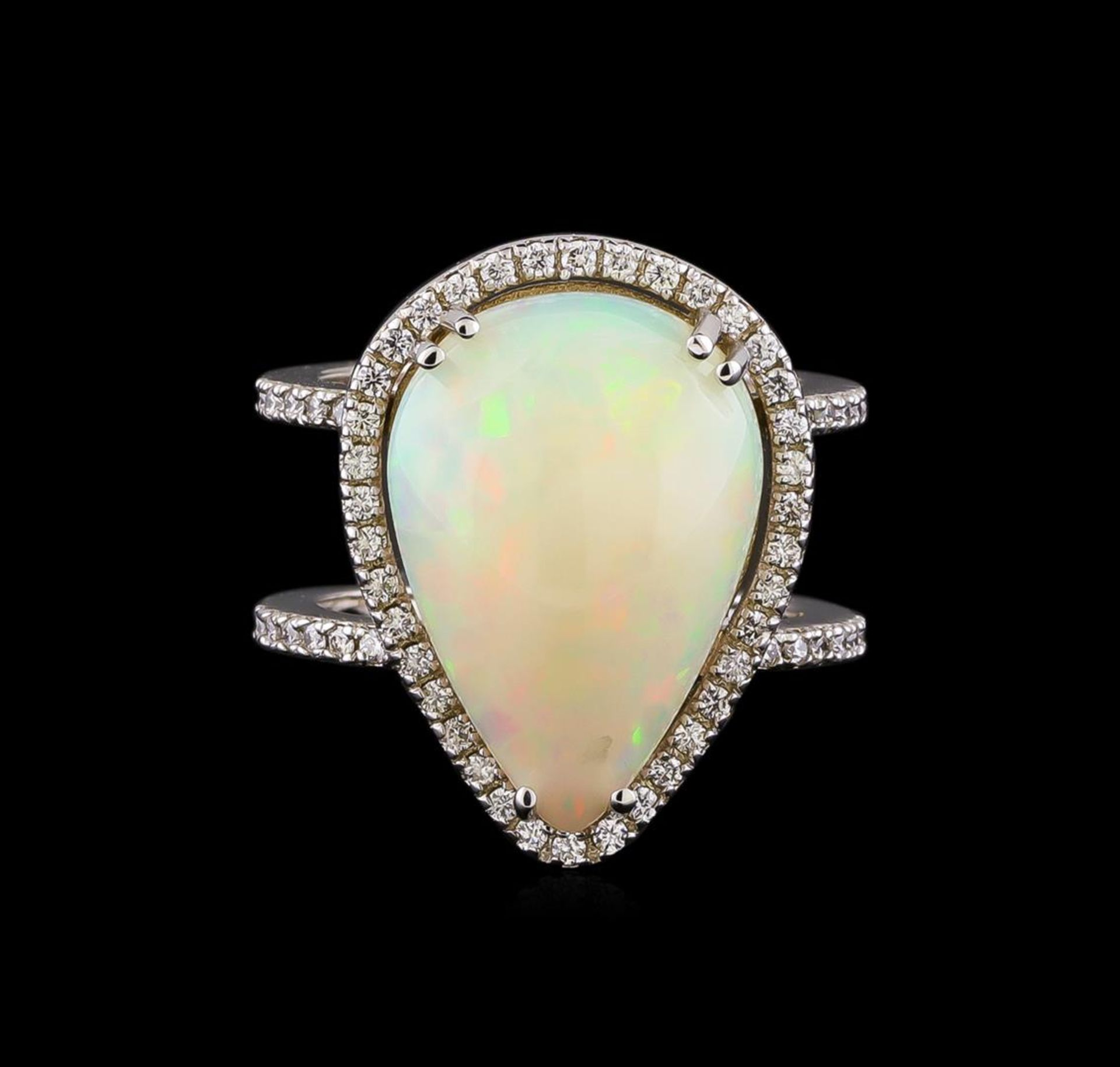 9.70 ctw Opal and Diamond Ring - 14KT White Gold - Image 2 of 5