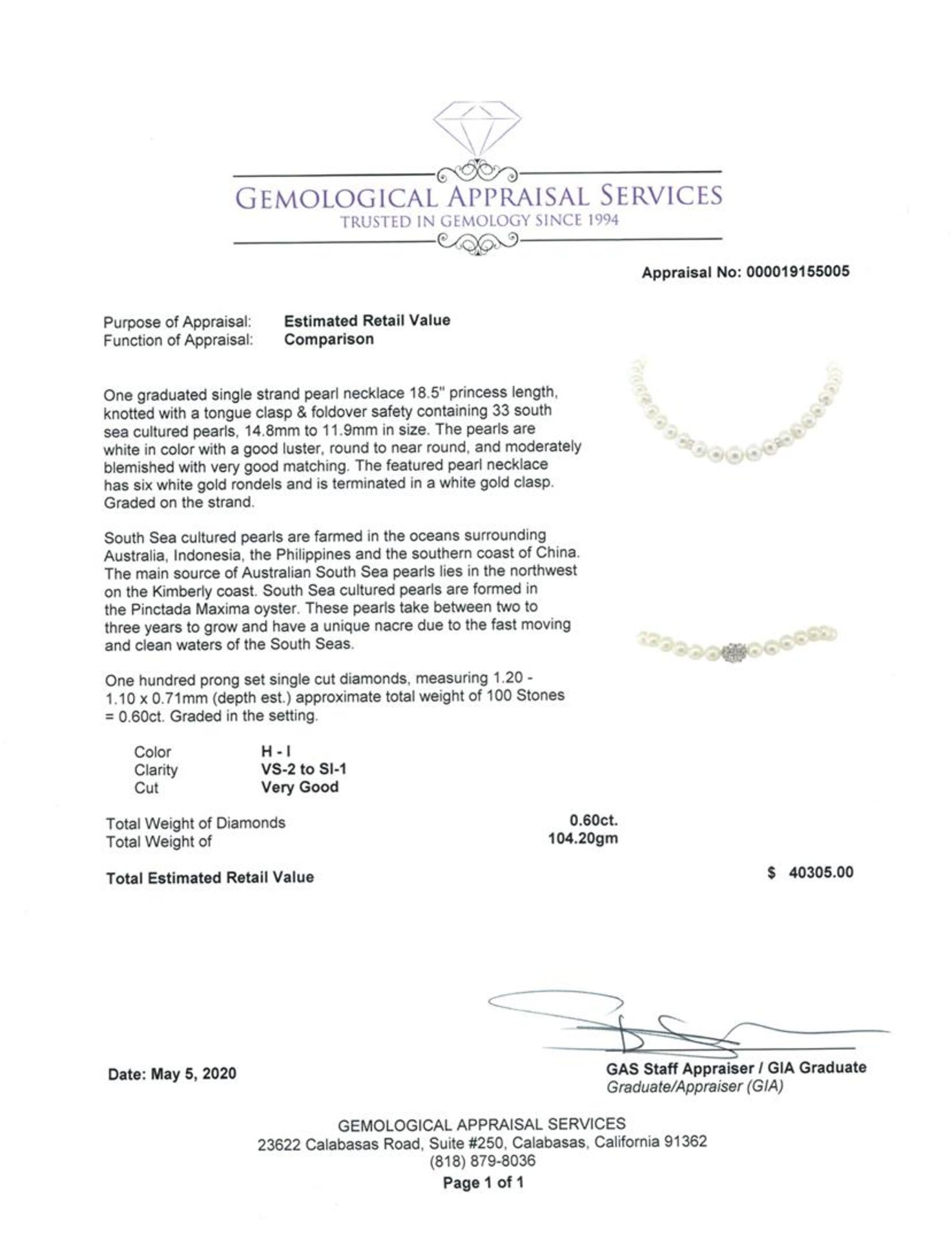 0.60 ctw Diamond and South Sea Pearl Necklace - Image 4 of 4