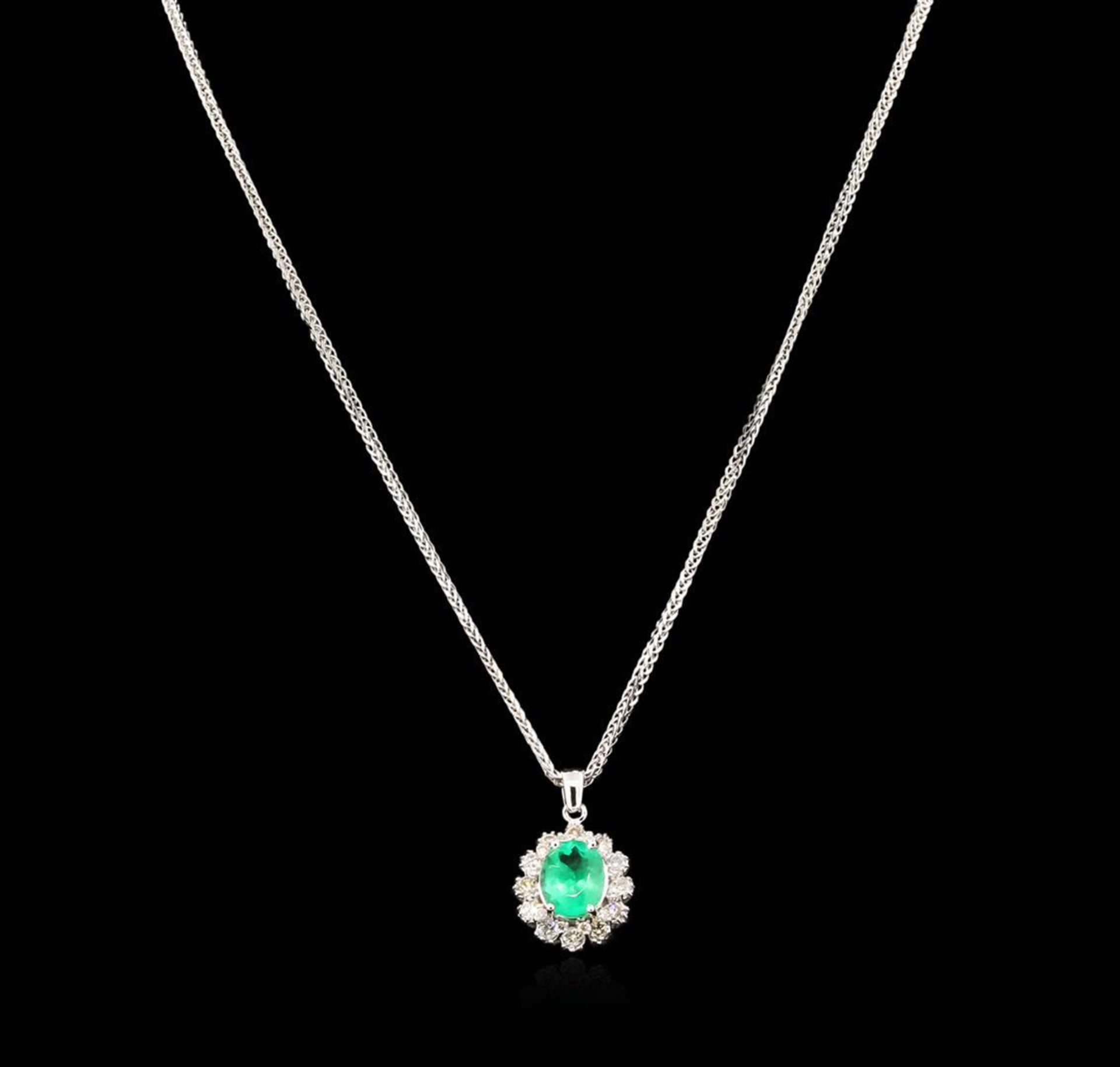 2.52 ctw Emerald and Diamond Pendant With Chain - 14KT White Gold - Image 2 of 3