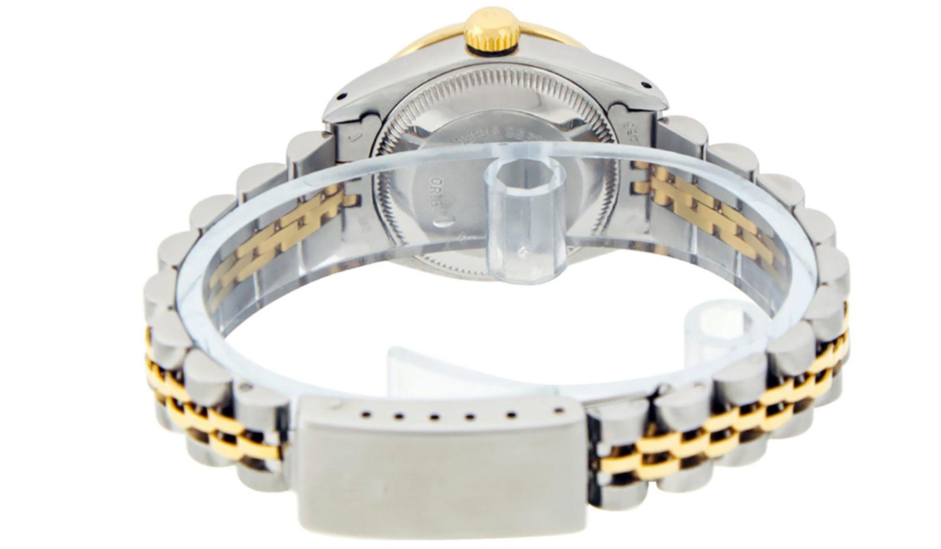 Rolex Ladies 2 Tone Green Diamond & Emerald Datejust Wristwatch - Image 6 of 9