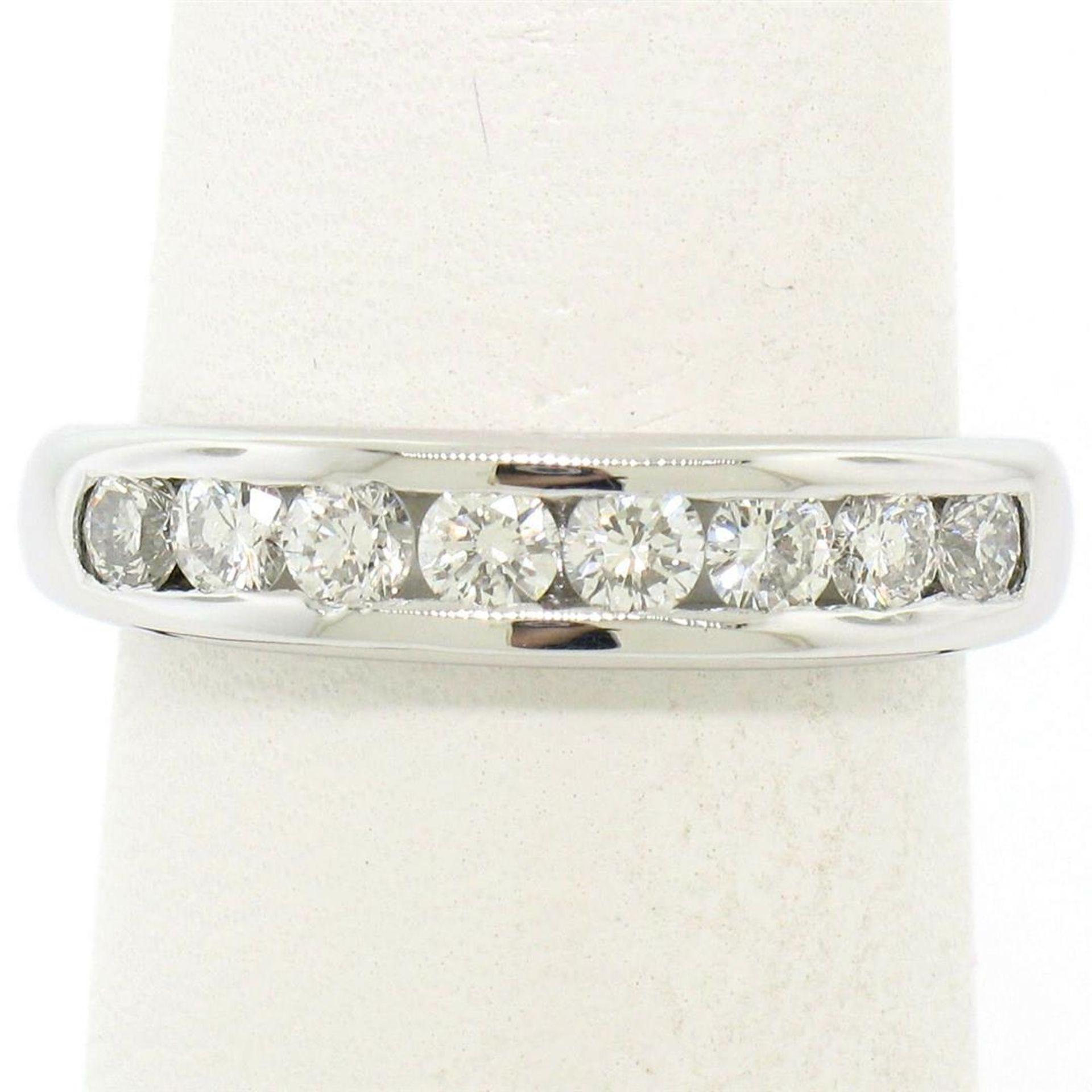 Classic Platinum .80ctw Channel Set Round Brilliant VS Diamond Wedding Band Ring - Image 4 of 8