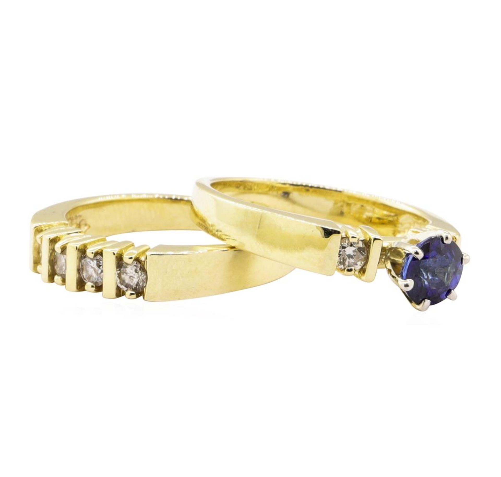 1.37 ctw Blue Sapphire And Diamond Ring And Band - 14KT Yellow Gold - Image 3 of 4