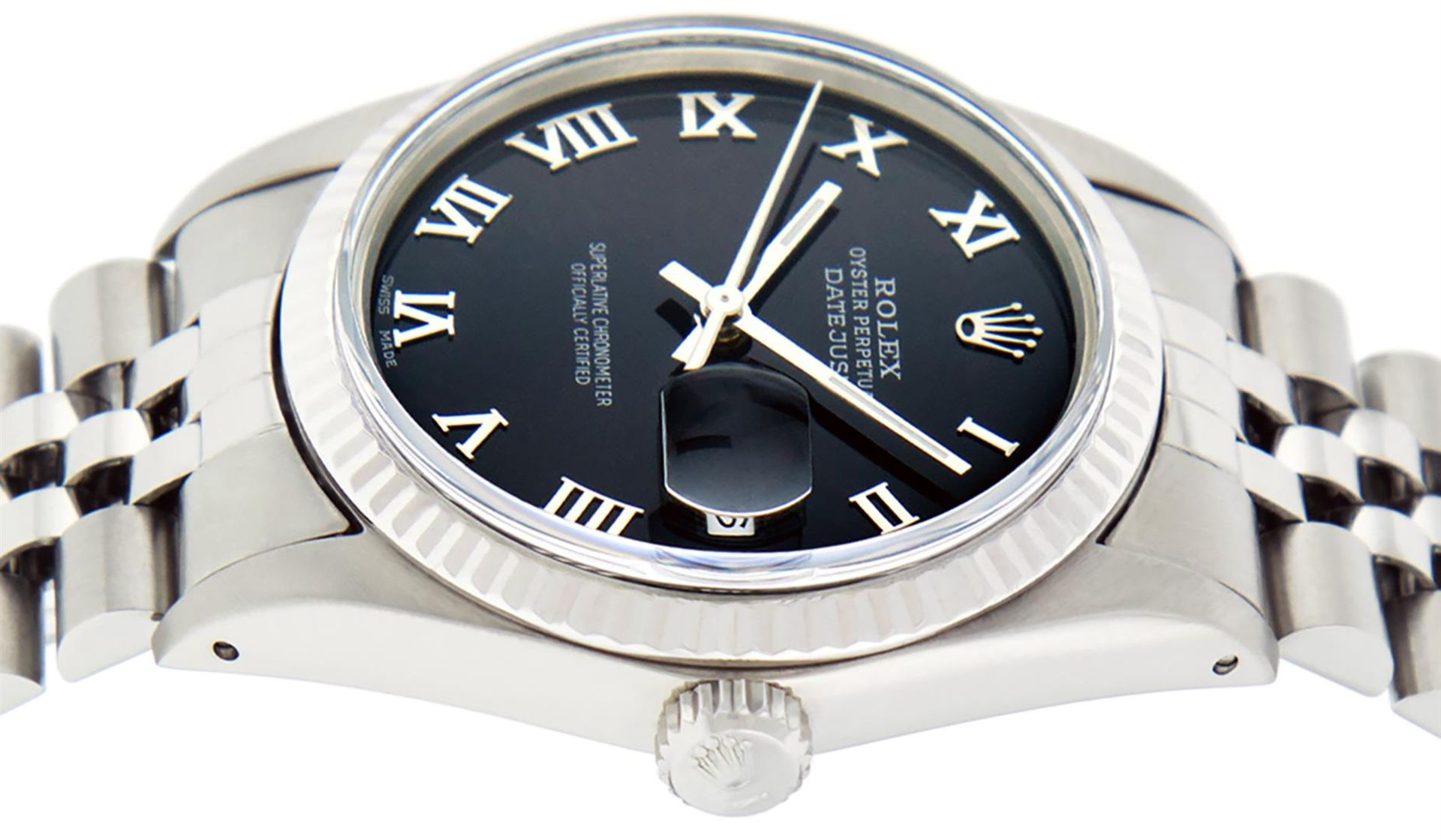 Rolex Mens Stainless Steel Black Roman Datejust 36MM Wriswatch Datejust - Image 7 of 8