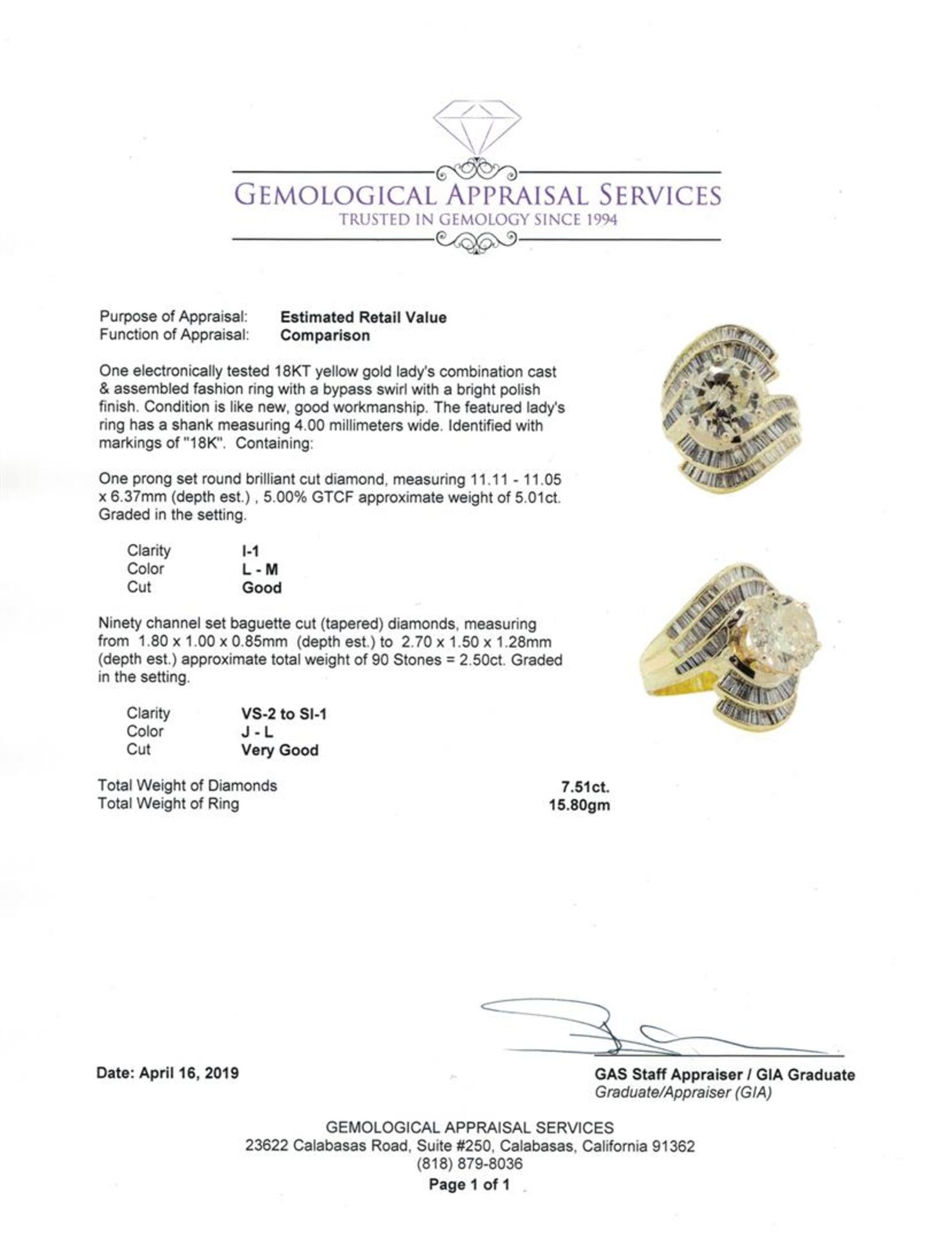 7.51 ctw Diamond Ring - 18KT Yellow Gold - Image 5 of 5
