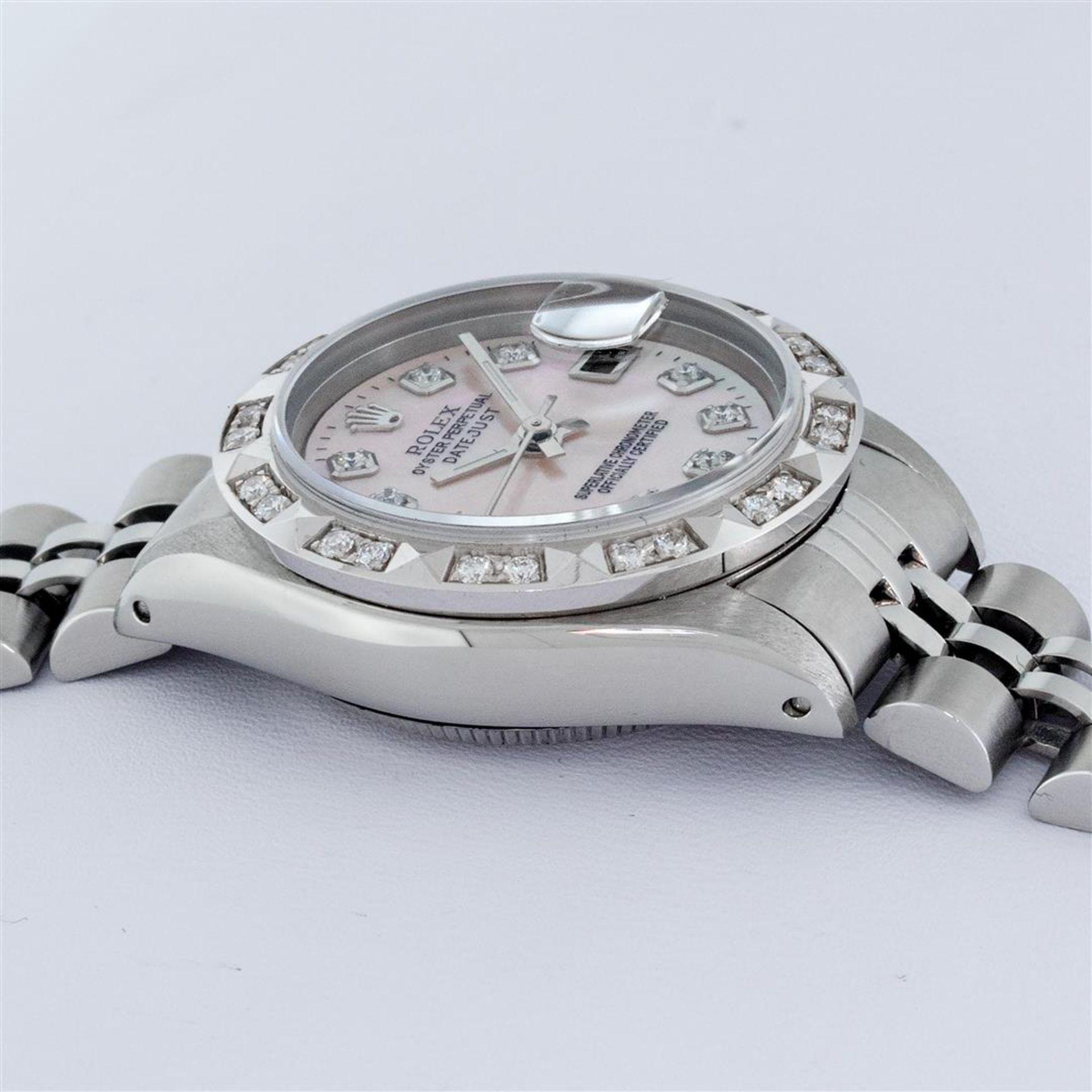 Rolex Ladies Stainless Steel Pink MOP Pyramid Diamond Datejust Wristwatch 26MM - Image 6 of 9