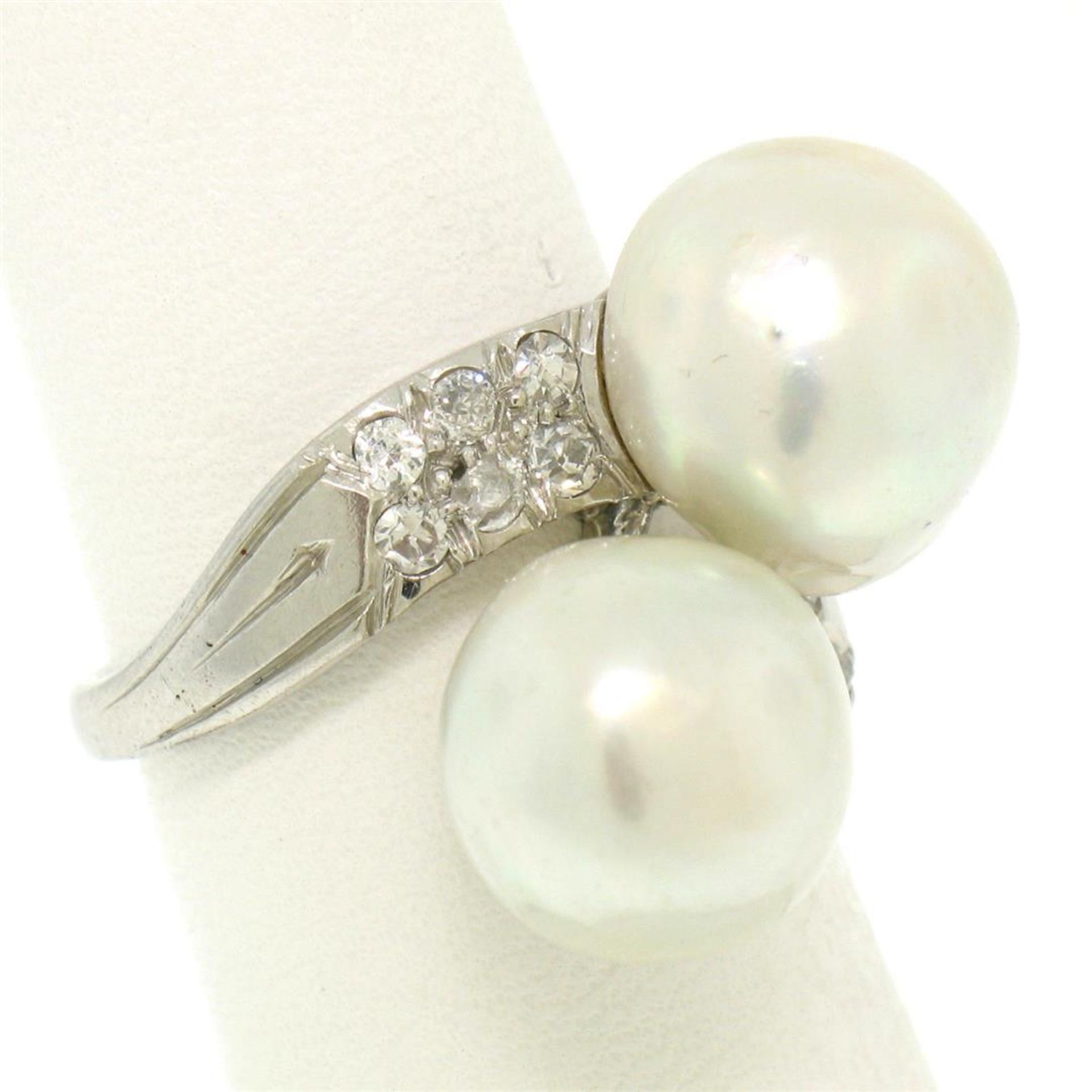 GIA Certified Solid Platinum Pearl & Diamond Bypass Cocktail Ring - Image 7 of 9