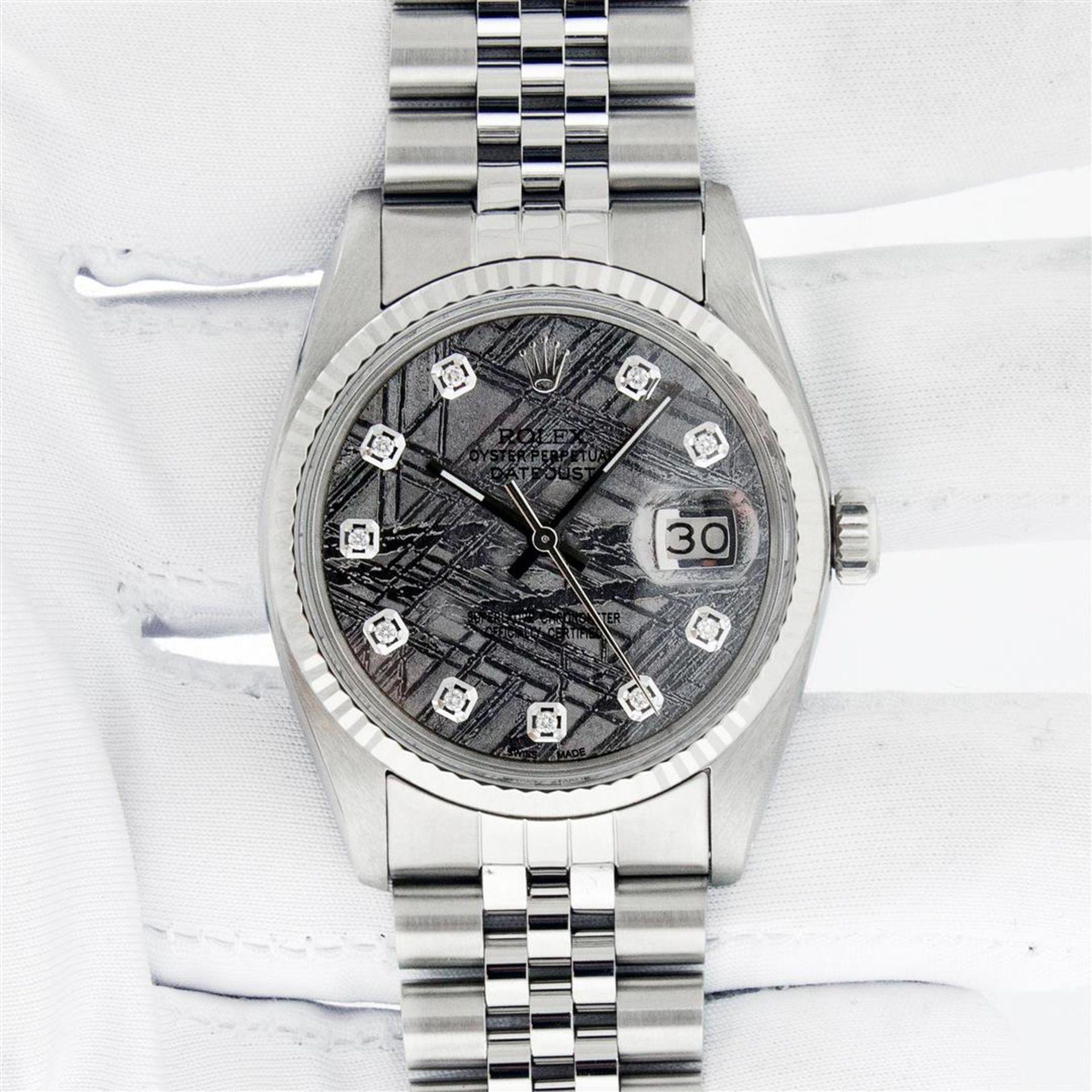 Rolex Mens Stainless Steel Meteorite Diamond 36MM Oyster Perpetual Datejust Wris - Image 2 of 9
