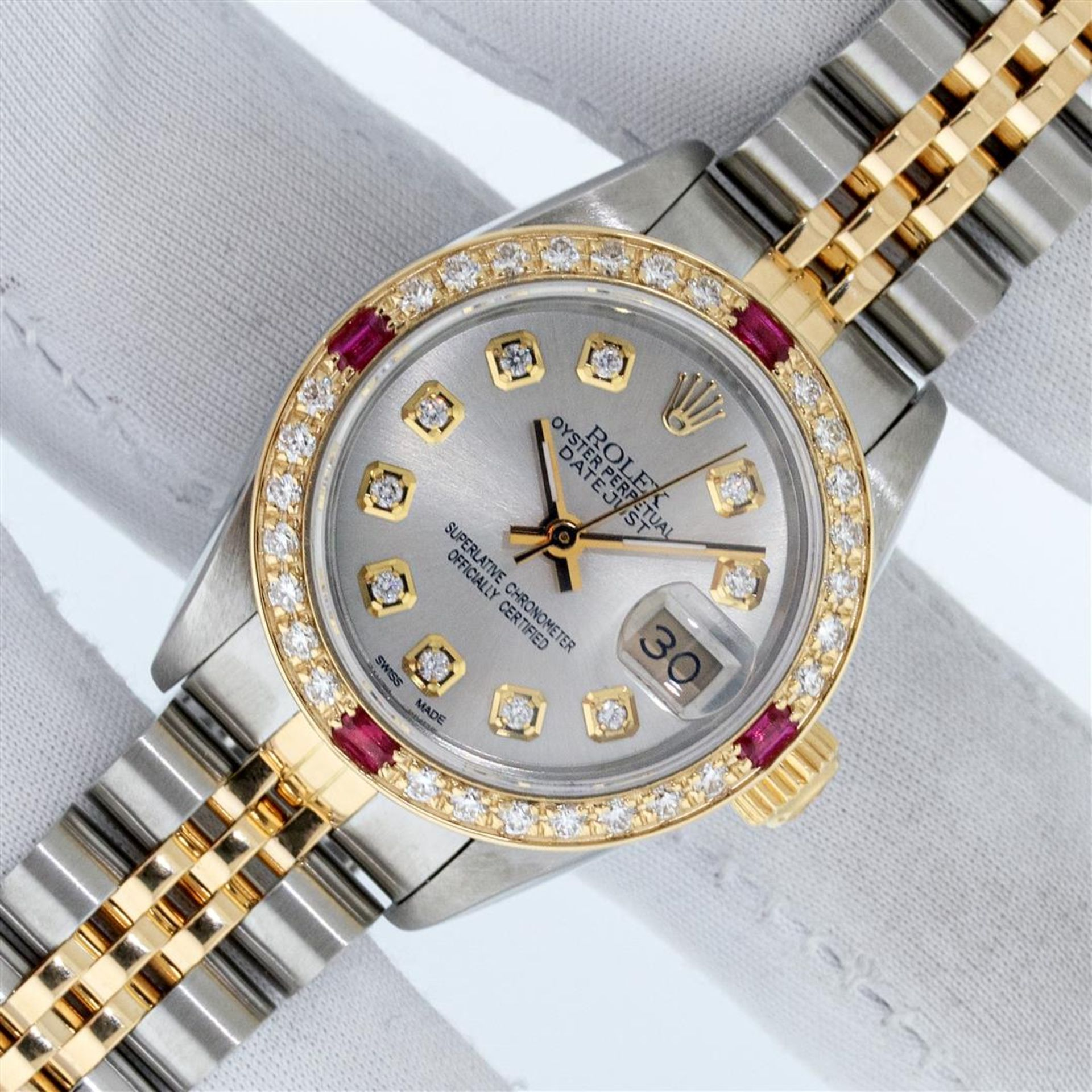 Rolex Ladies 2 Tone Silver Diamond & Ruby Oyster Perpetual Datejust Wristwatch - Image 2 of 9