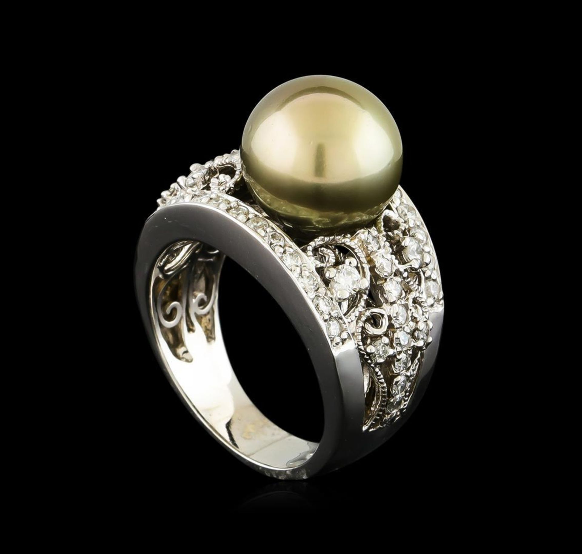 Tahitian Pearl and Diamond Ring - 14KT White Gold - Image 4 of 5