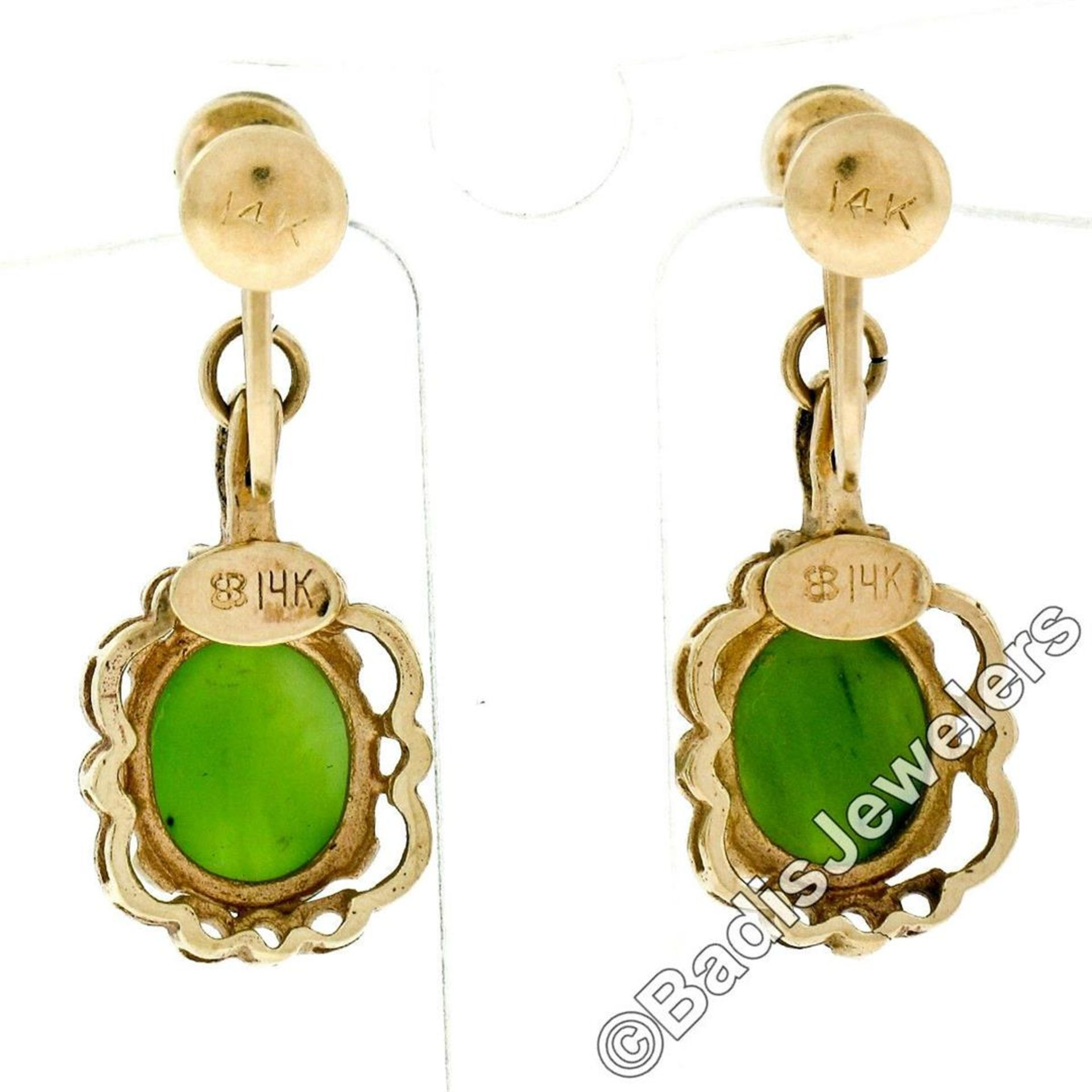 Vintage 14kt Yellow Gold Oval Green Jade Non Pierced Earrings - Image 6 of 6