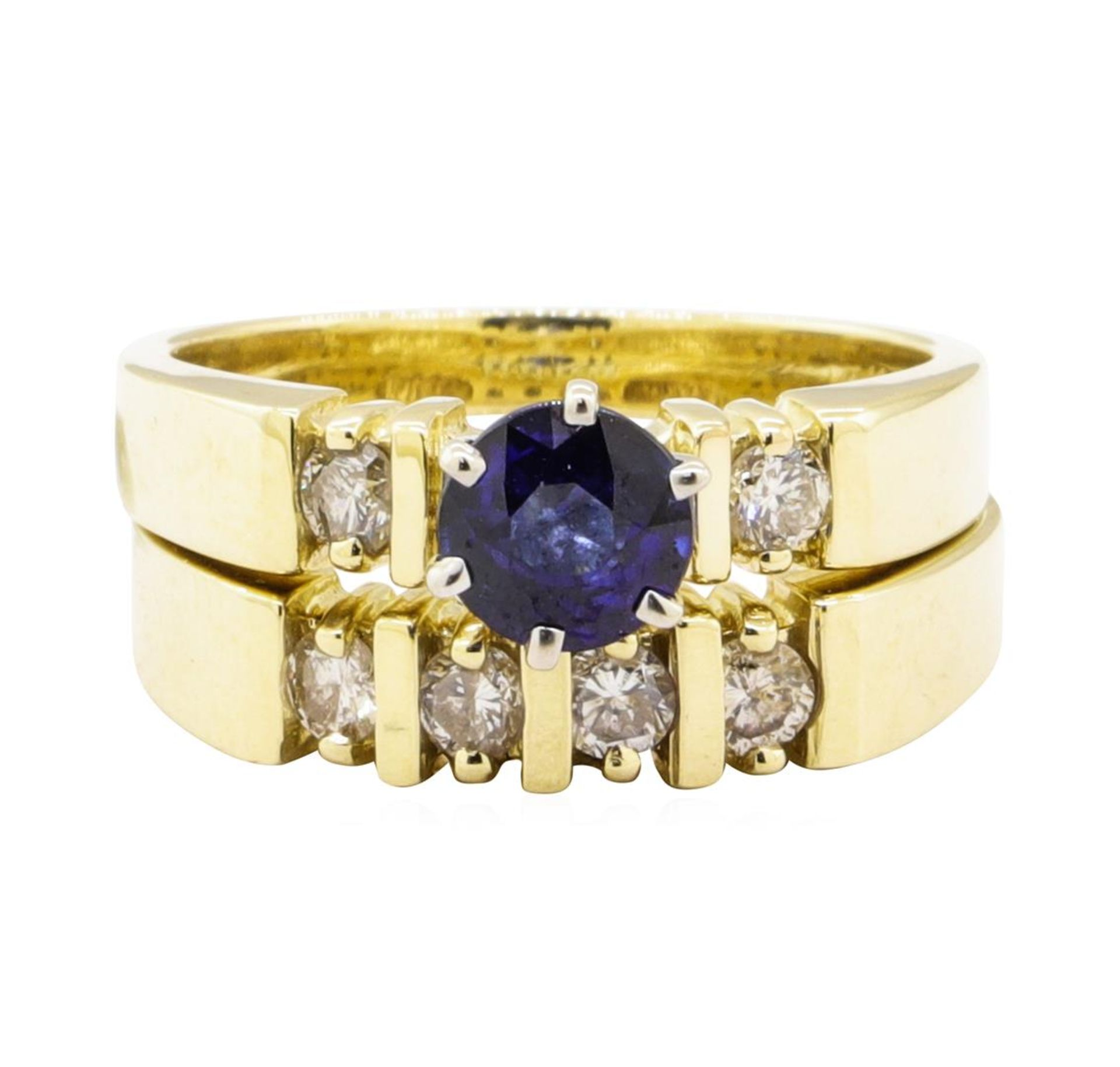 1.37 ctw Blue Sapphire And Diamond Ring And Band - 14KT Yellow Gold - Image 2 of 4