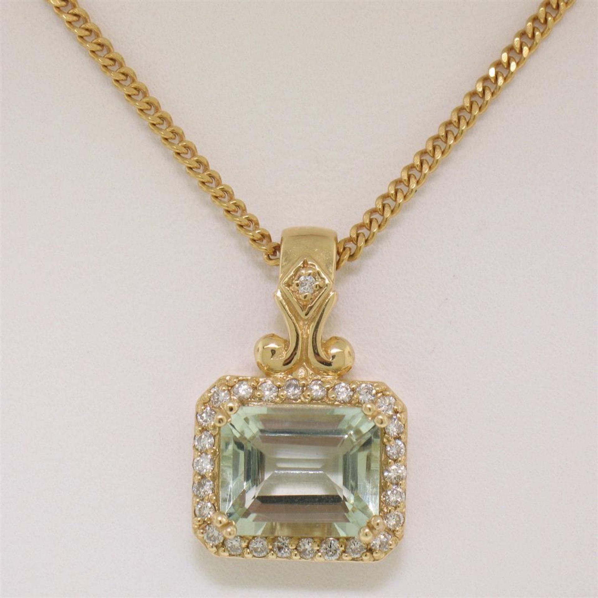 "14K Yellow Gold 3.77ctw VS Diamond Green Amethyst Pendant w/ 20"" Curb Chain - Image 3 of 7"