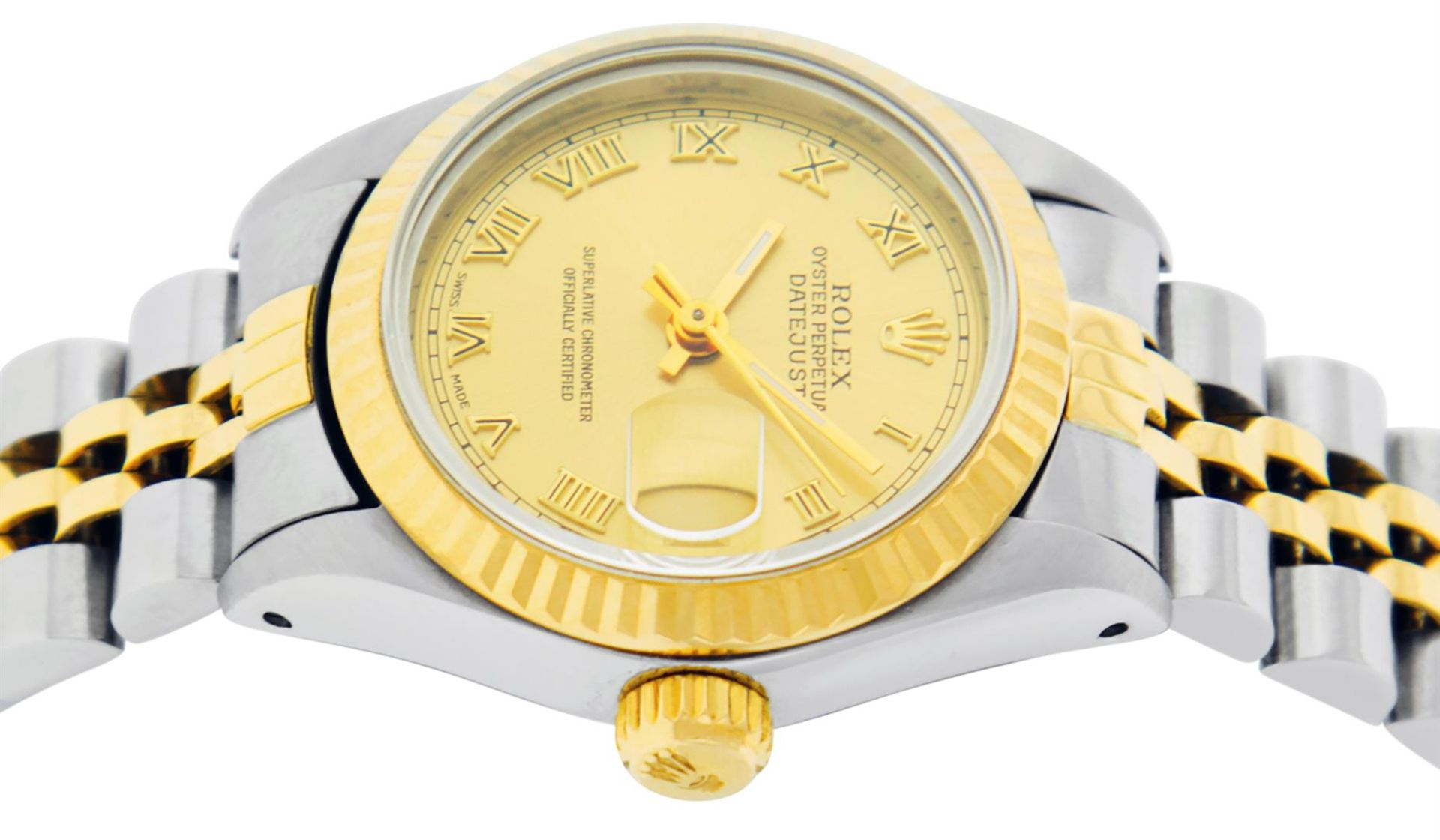Rolex Ladies 2 Tone Factory Champagne Roman Fluted Datejust Wristwatch - Image 3 of 9