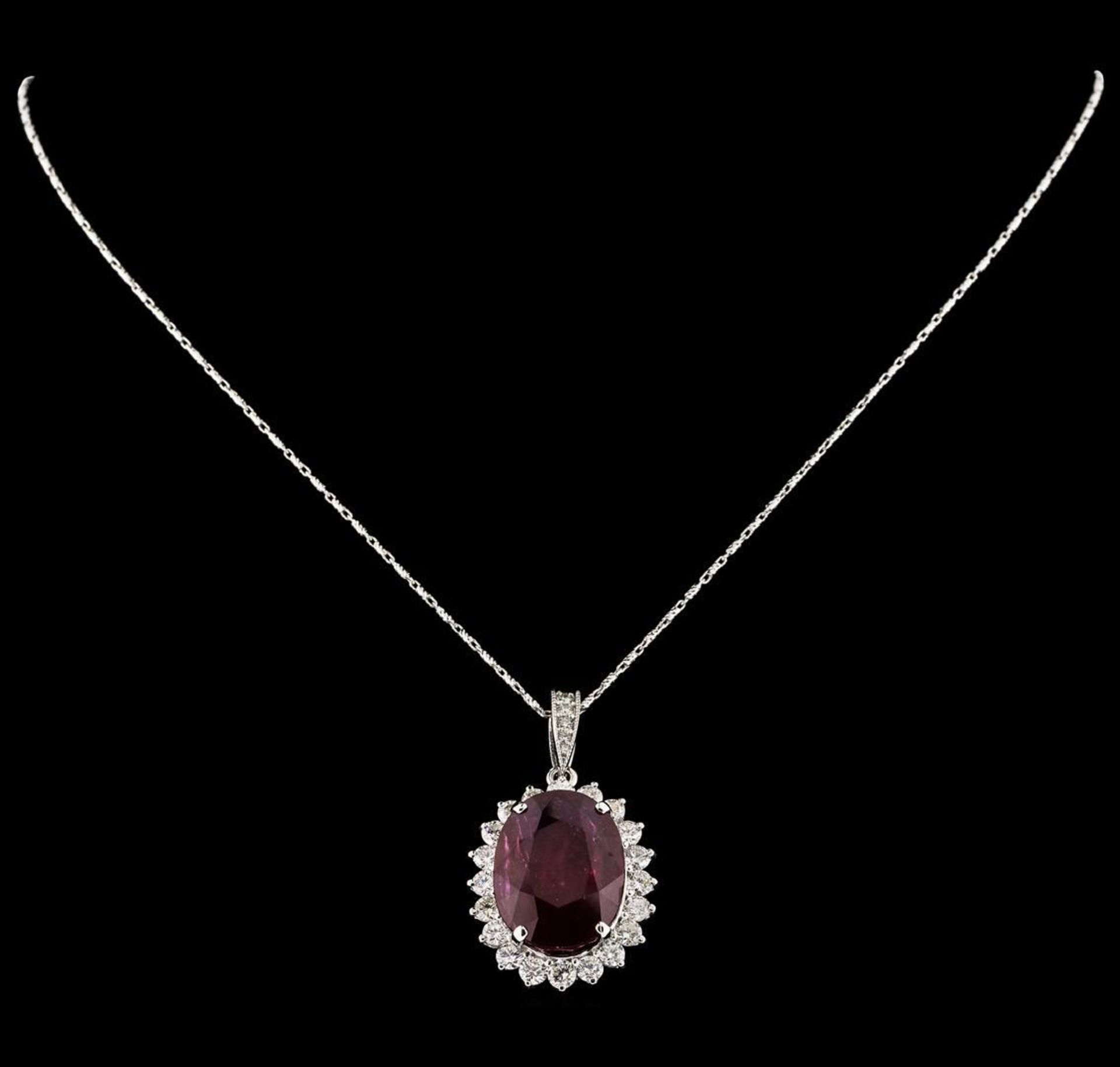 18.81 ctw Ruby and Diamond Pendant With Chain - 14KT White Gold