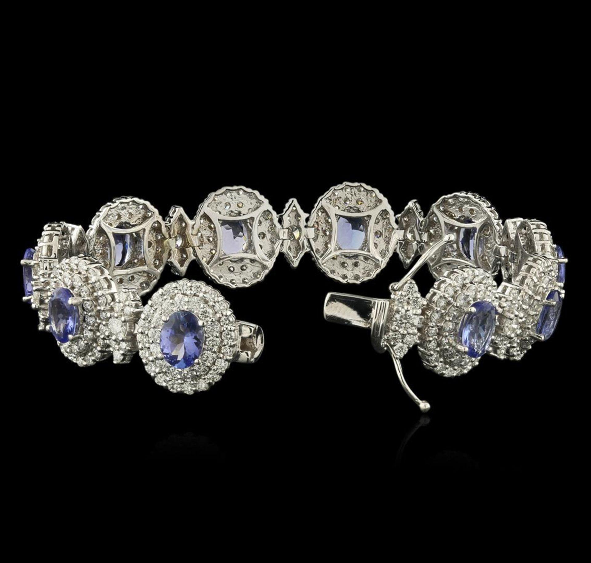 14KT White Gold 11.11ctw Tanzanite and Diamond Bracelet - Image 3 of 4