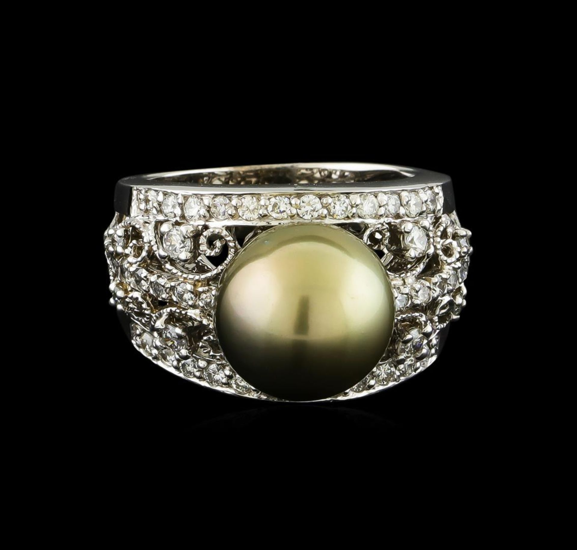 Tahitian Pearl and Diamond Ring - 14KT White Gold - Image 2 of 5