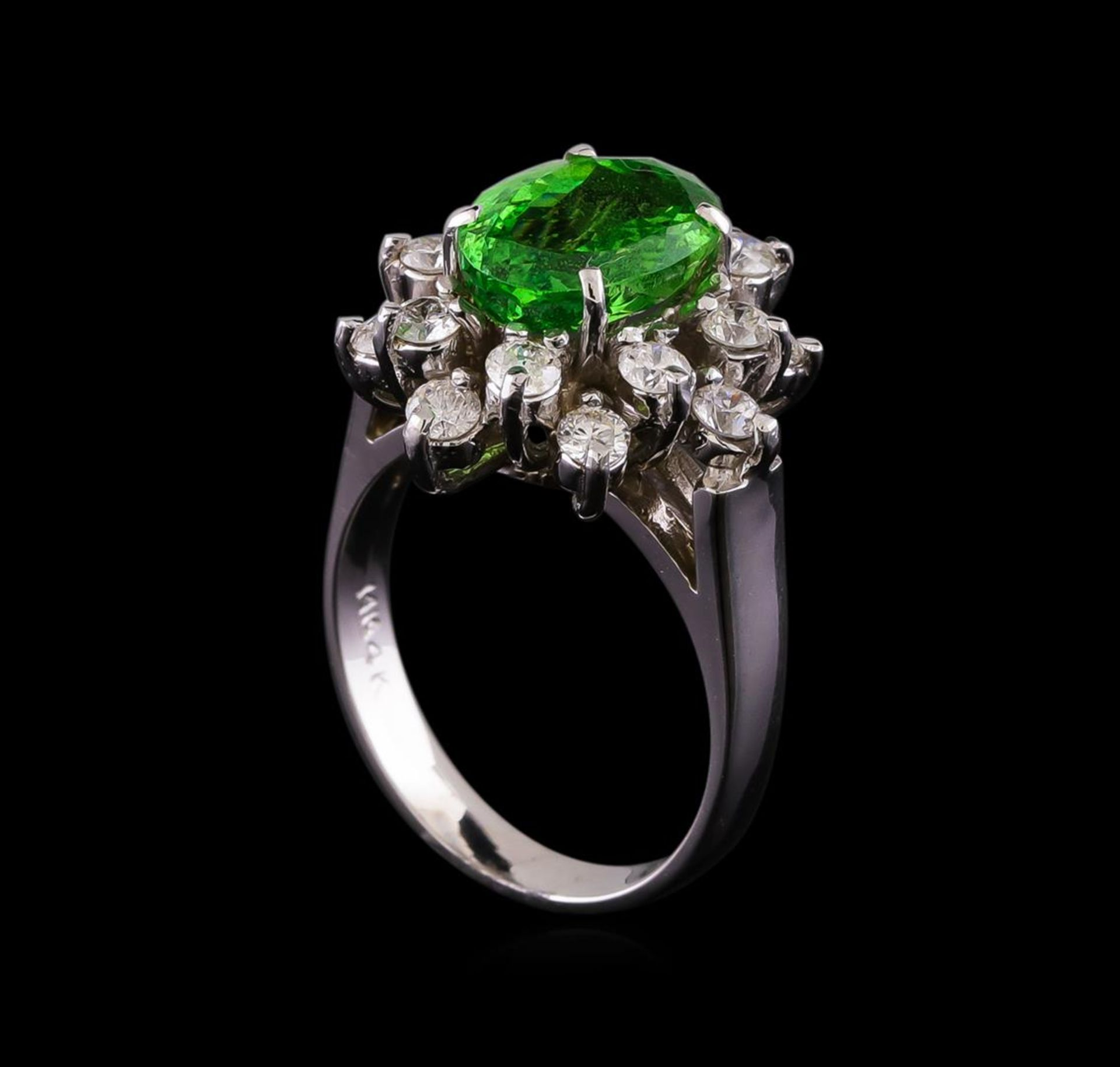 2.51 ctw Tsavorite and Diamond Ring - 14KT White Gold - Image 4 of 5