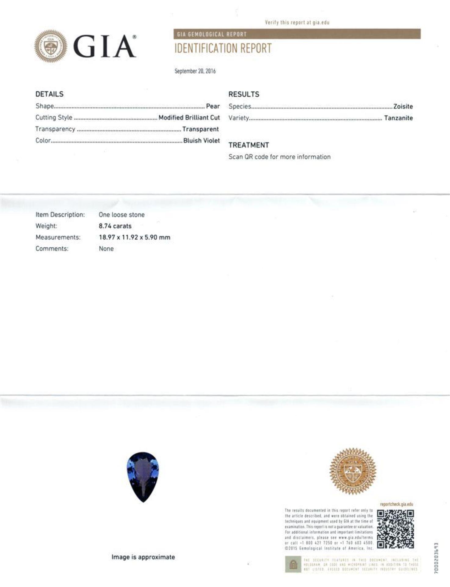 GIA Cert 8.74 ctw Tanzanite and Diamond Ring - 14KT White Gold - Image 6 of 6