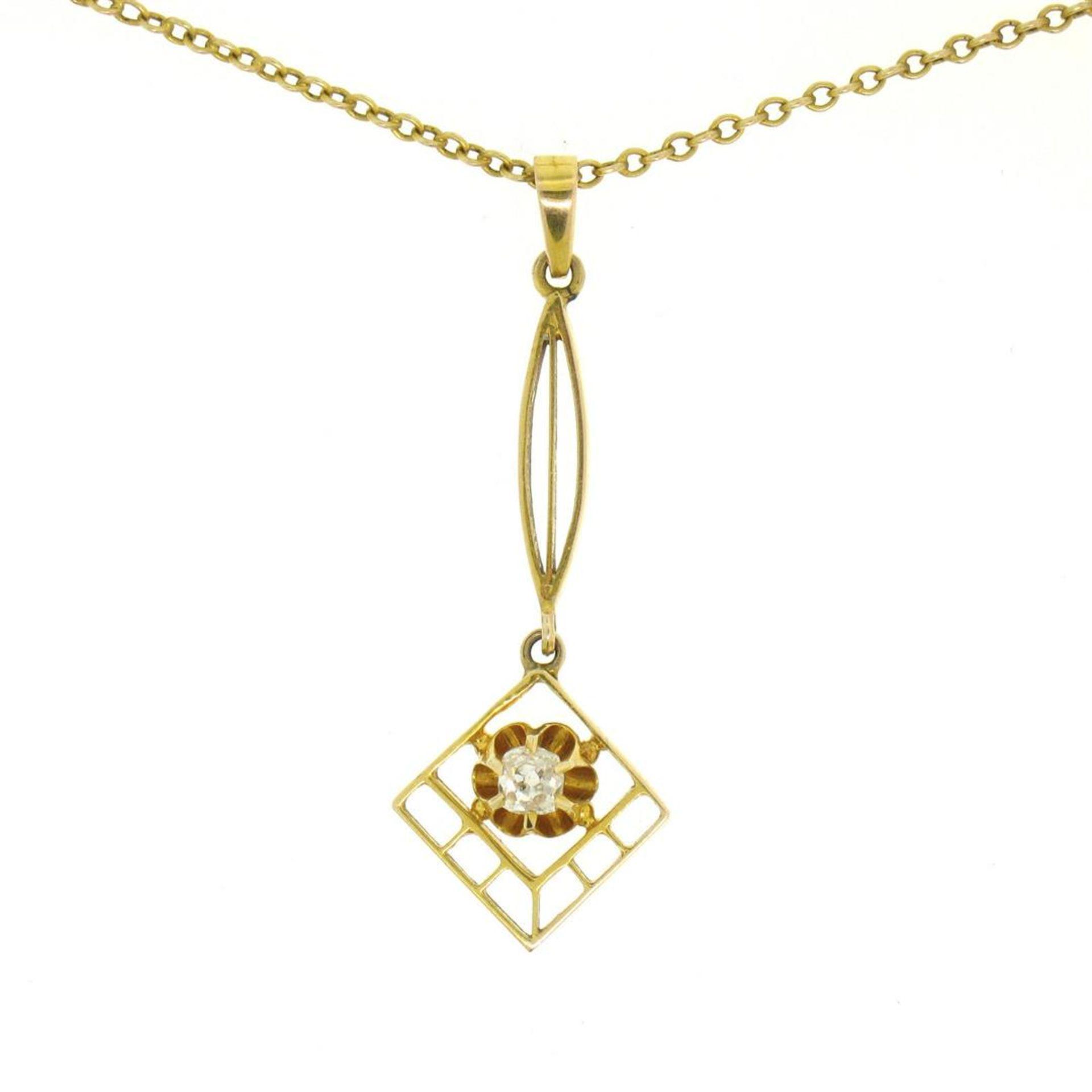 14k Gold Cushion Mine Cut Diamond Lavalier Pendant - Image 3 of 7