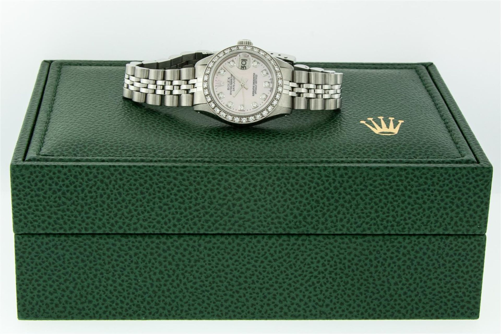 Rolex Ladies Stainless Steel Pink MOP Diamond 26MM Oyster Perpetaul Datejust Wit - Image 8 of 9