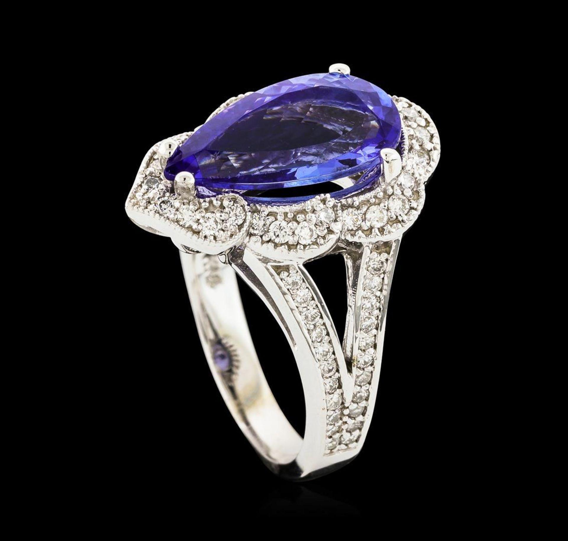3.40 ctw Tanzanite and Diamond Ring - 14KT White Gold - Image 4 of 5