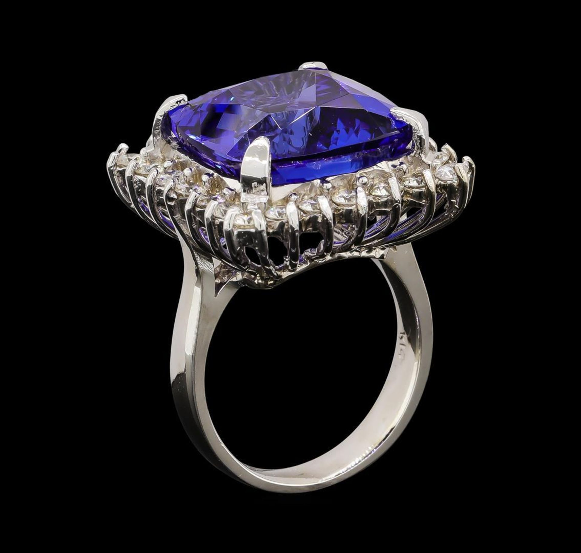 GIA Cert 17.69 ctw Tanzanite and Diamond Ring - 14KT White Gold - Image 4 of 6