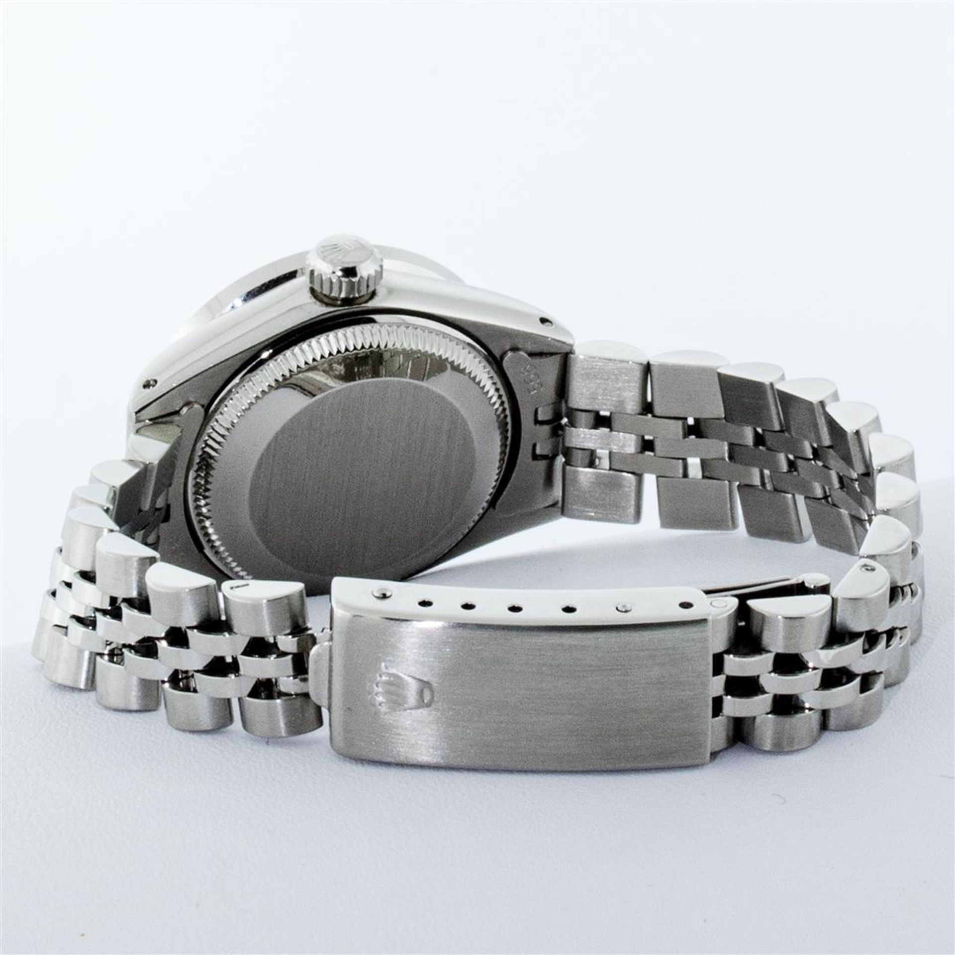 Rolex Ladies Stainless Steel Pink MOP Pyramid Diamond Datejust Wristwatch 26MM - Image 9 of 9