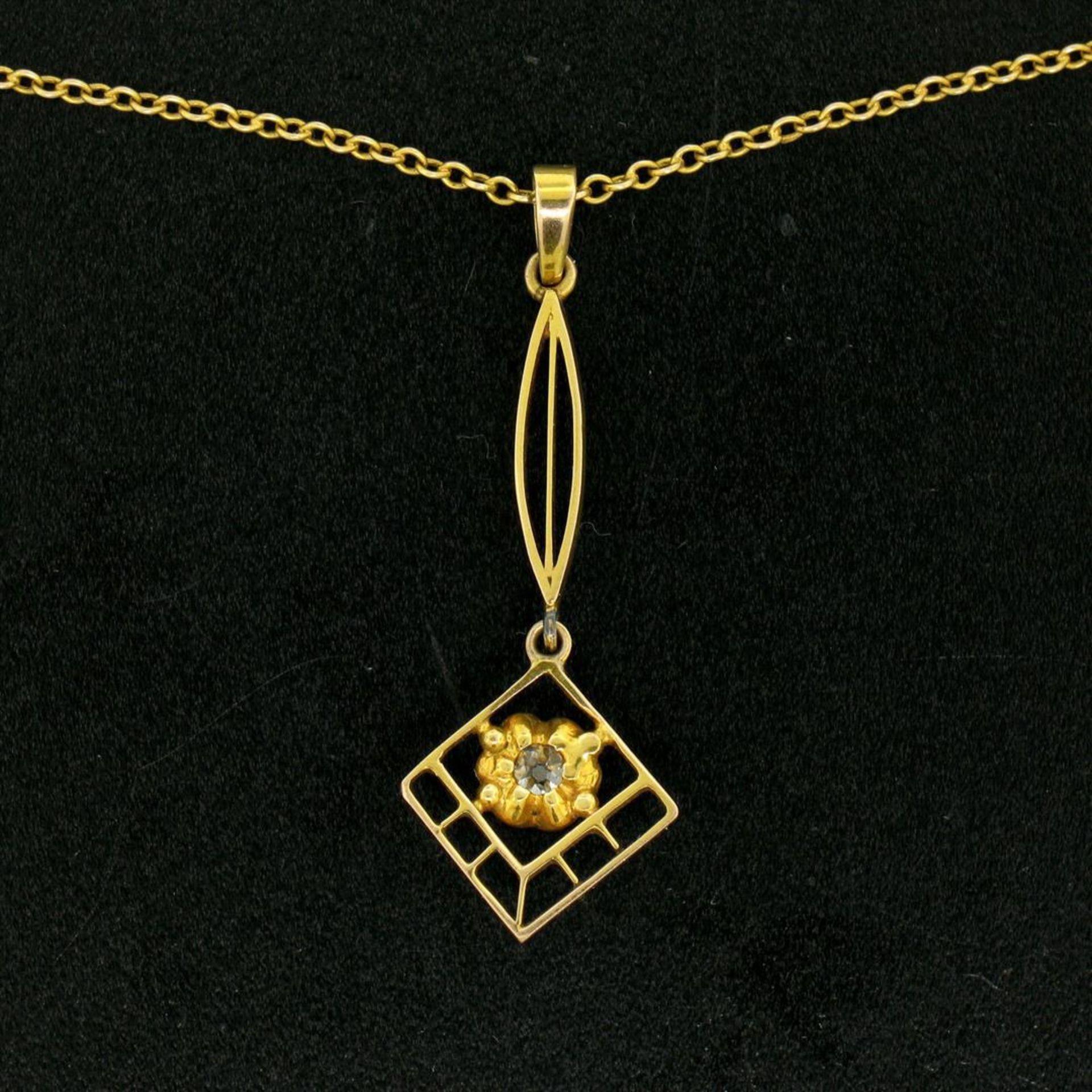 14k Gold Cushion Mine Cut Diamond Lavalier Pendant - Image 7 of 7