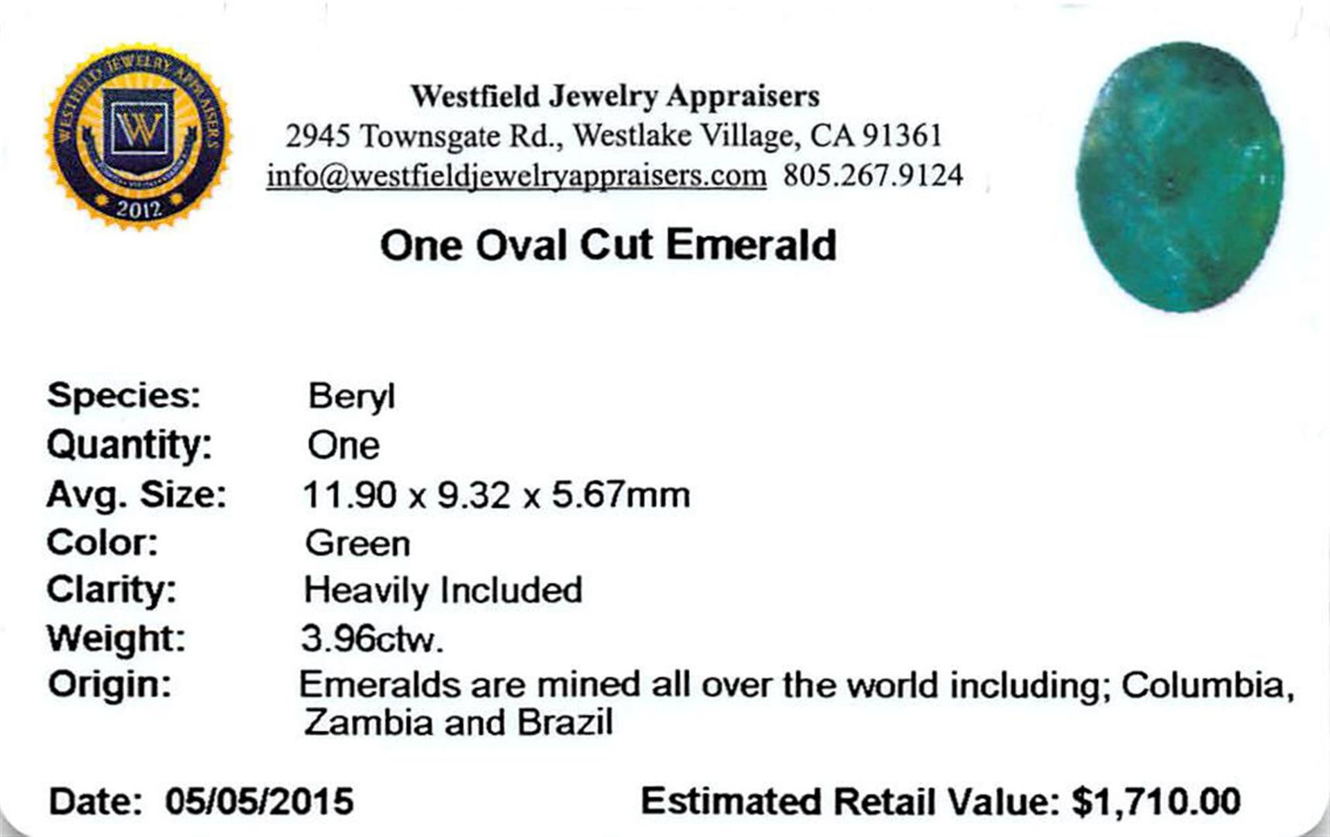 3.96 ctw Oval Emerald Parcel - Image 2 of 2