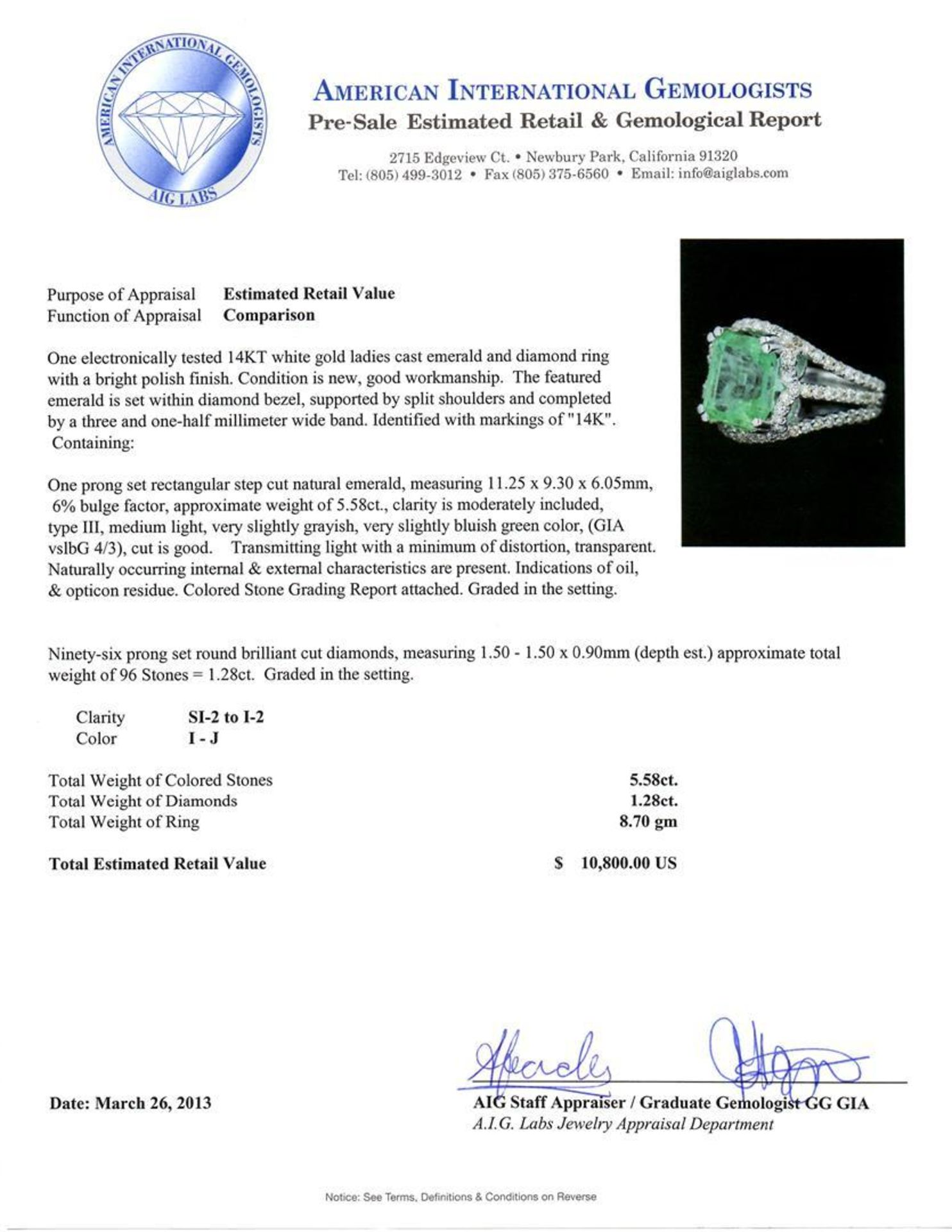 14KT White Gold 5.58ct Emerald and Diamond Ring - Image 4 of 4