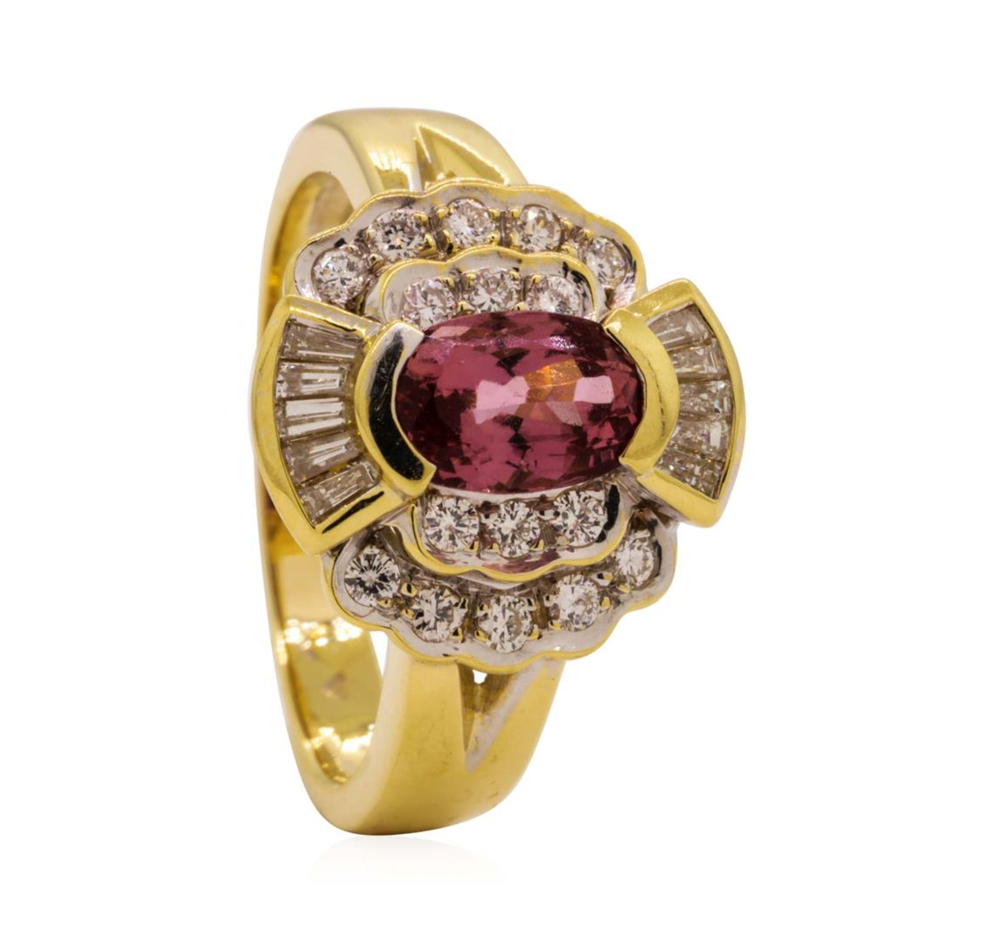 1.82 ctw Pink Spinel and Diamond Ring - 18KT Yellow Gold - Image 4 of 5