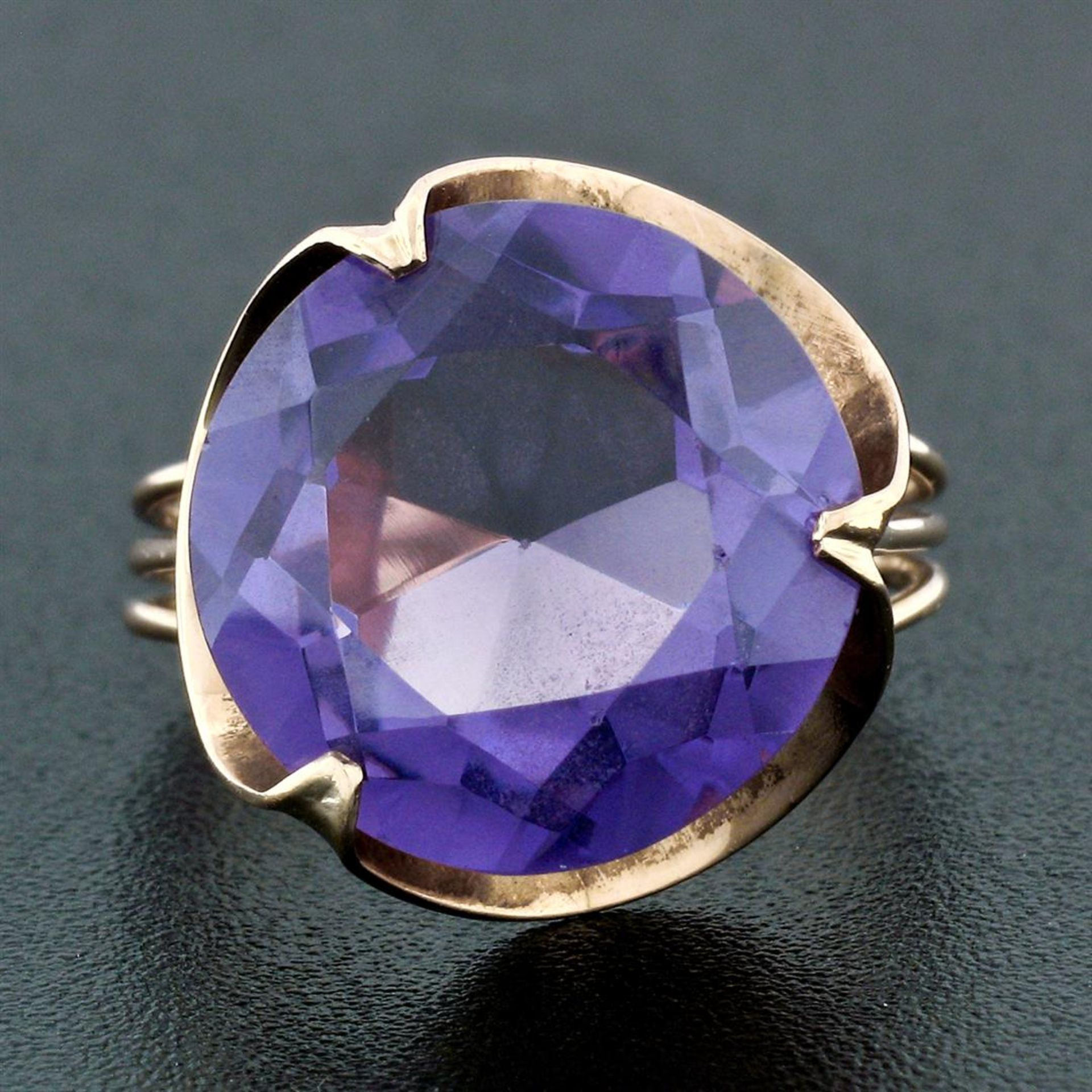 Retro Vintage Handmade 14k Rose Gold 13.7mm Synthetic Alexandrite Solitaire Ring - Image 2 of 8