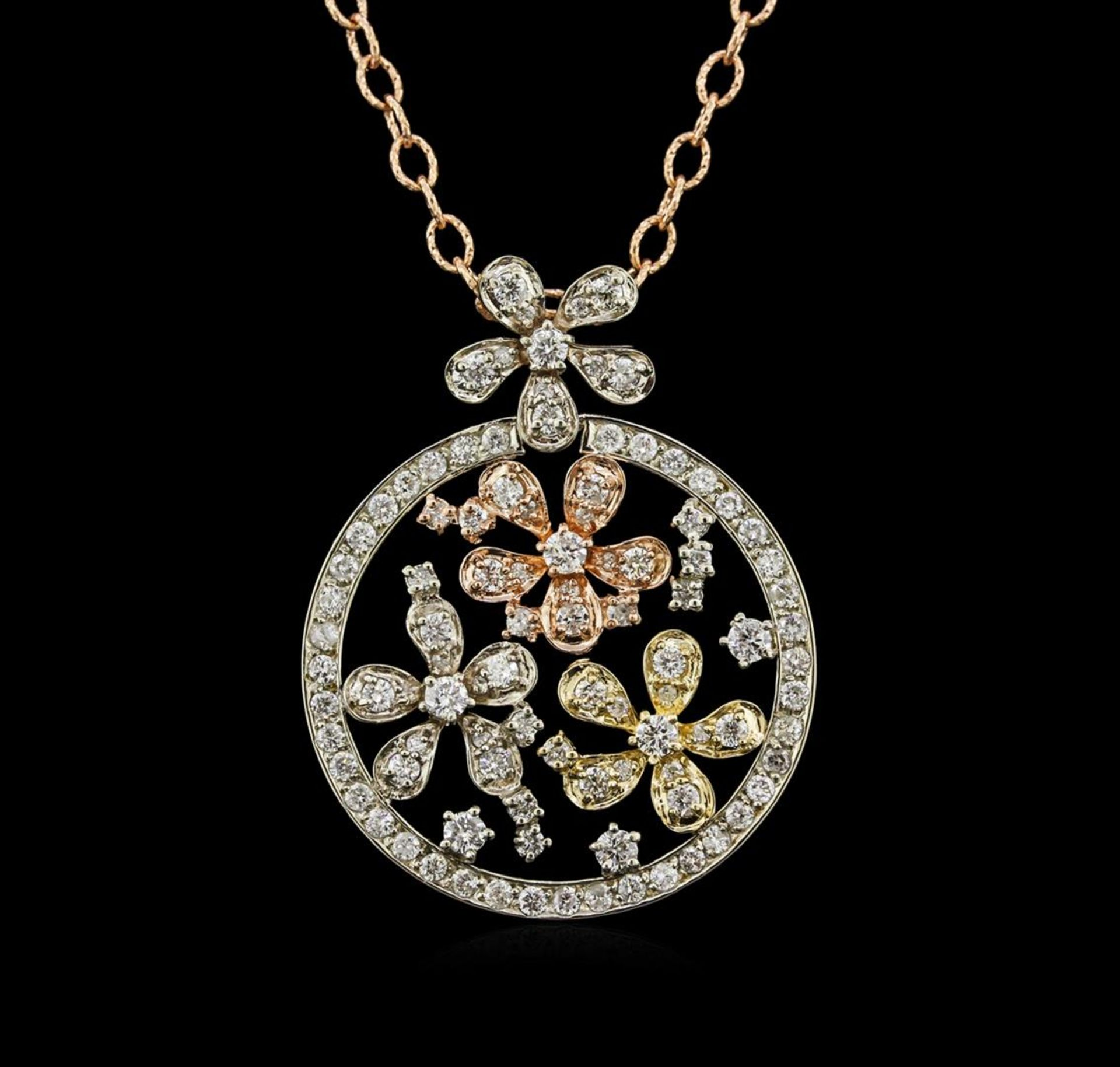 2.01 ctw Diamond Pendant With Chain - 14KT Tri Color Gold - Image 2 of 3