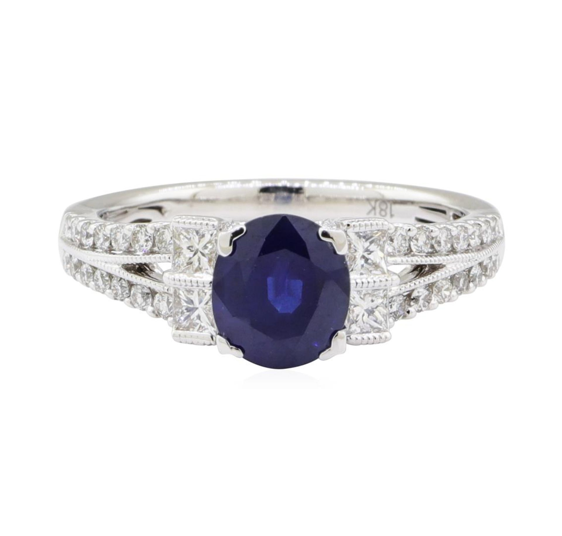 1.98 ctw Sapphire and Diamond Ring - 18KT White Gold - Image 2 of 5