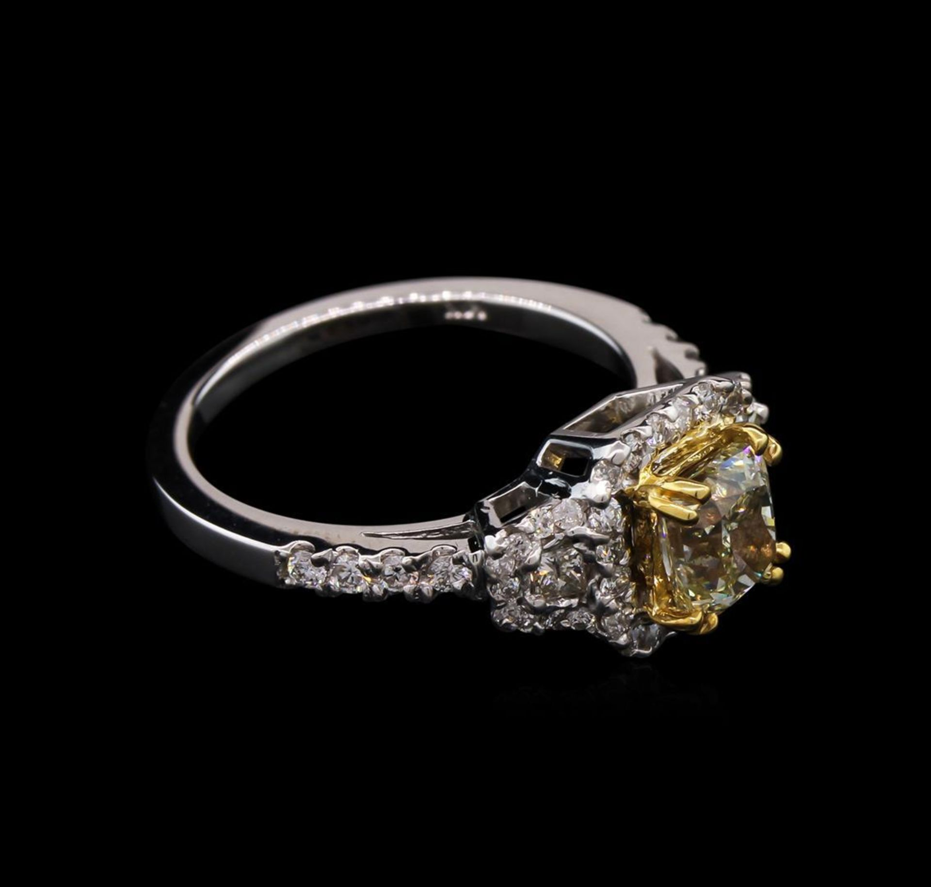 1.67 ctw Light Yellow Diamond Ring - 14KT White Gold