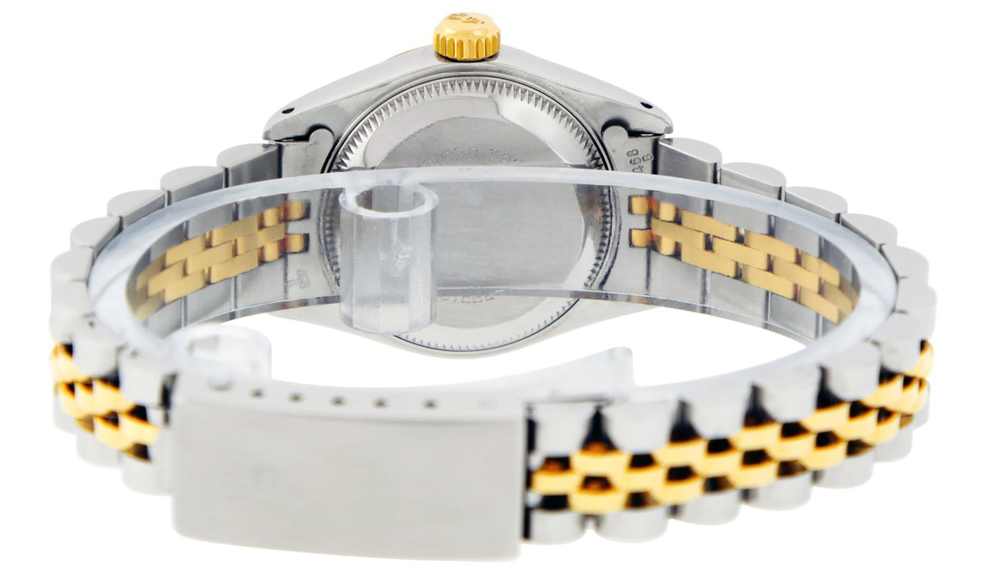 Rolex Ladies 2 Tone Factory Champagne Roman Fluted Datejust Wristwatch - Image 9 of 9