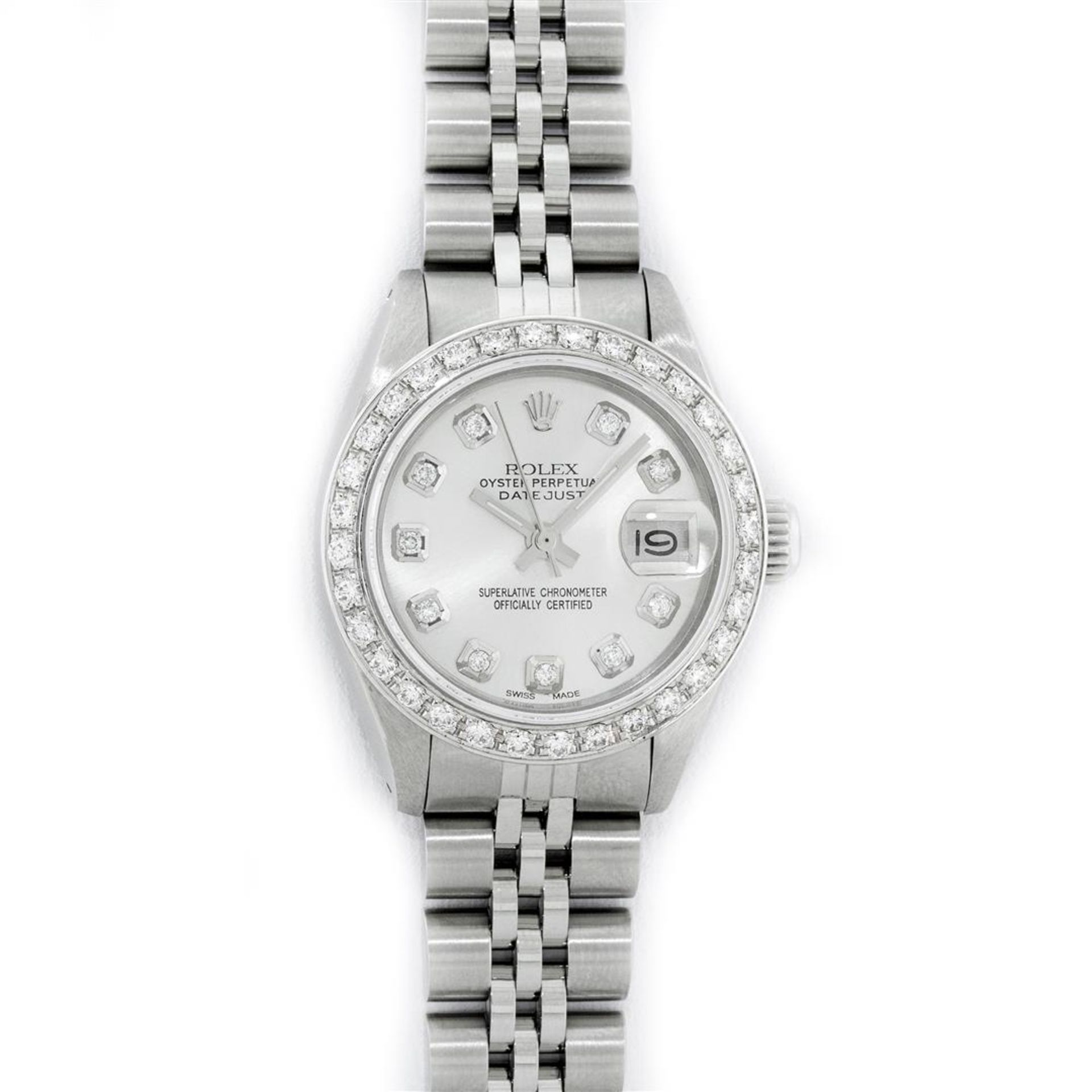 Rolex Ladies Stainless Steel Silver Diamond 26MM Oyster Perpetual Datejust - Image 2 of 9