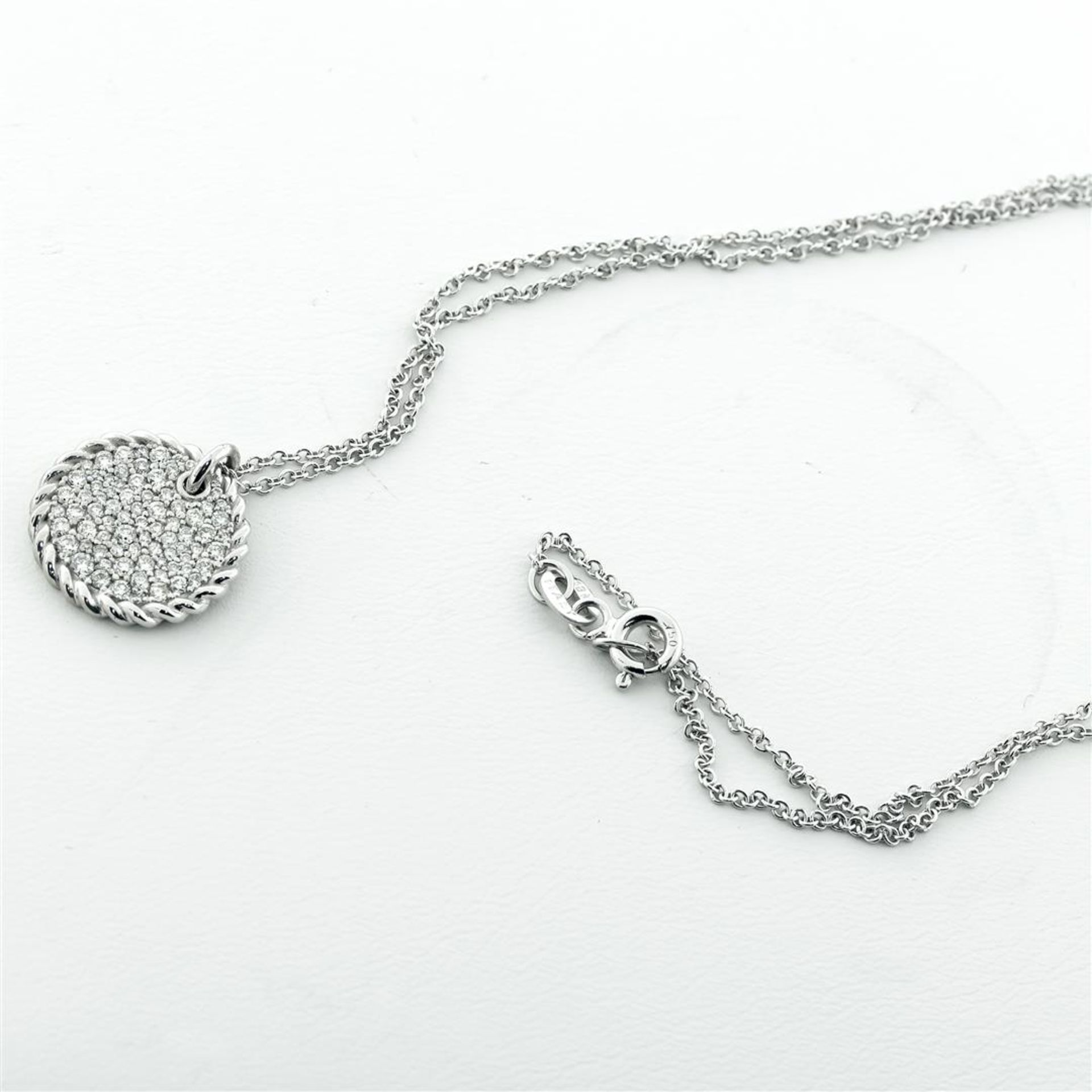 New 18k White Gold Diamond Cable Pendant with with 18K White Gold Chain - Image 5 of 7