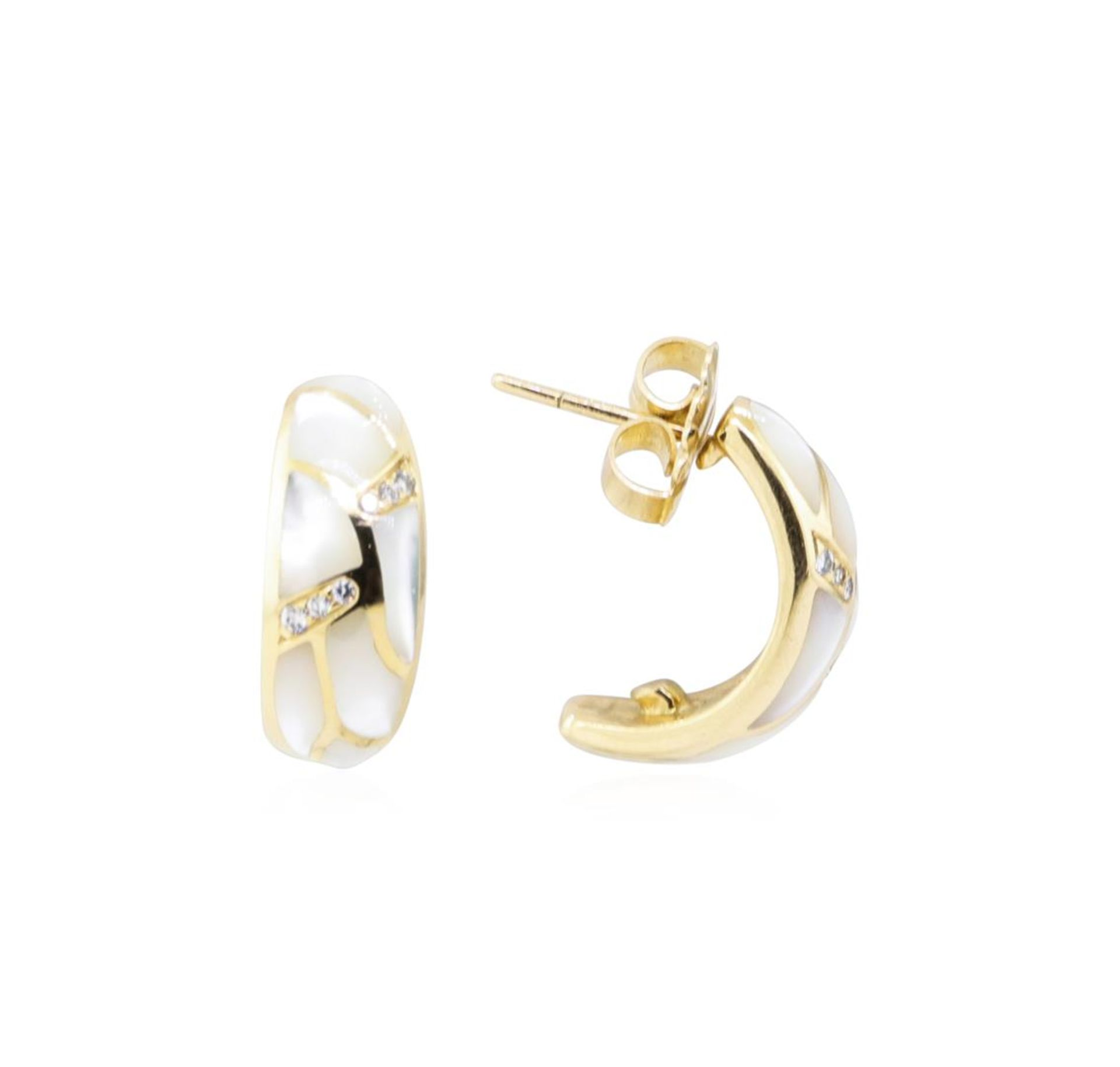 Kabana 0.25ctw Diamond and Inlaid Mother of Pearl Earrings - 14KT Yellow Gold - Image 2 of 2